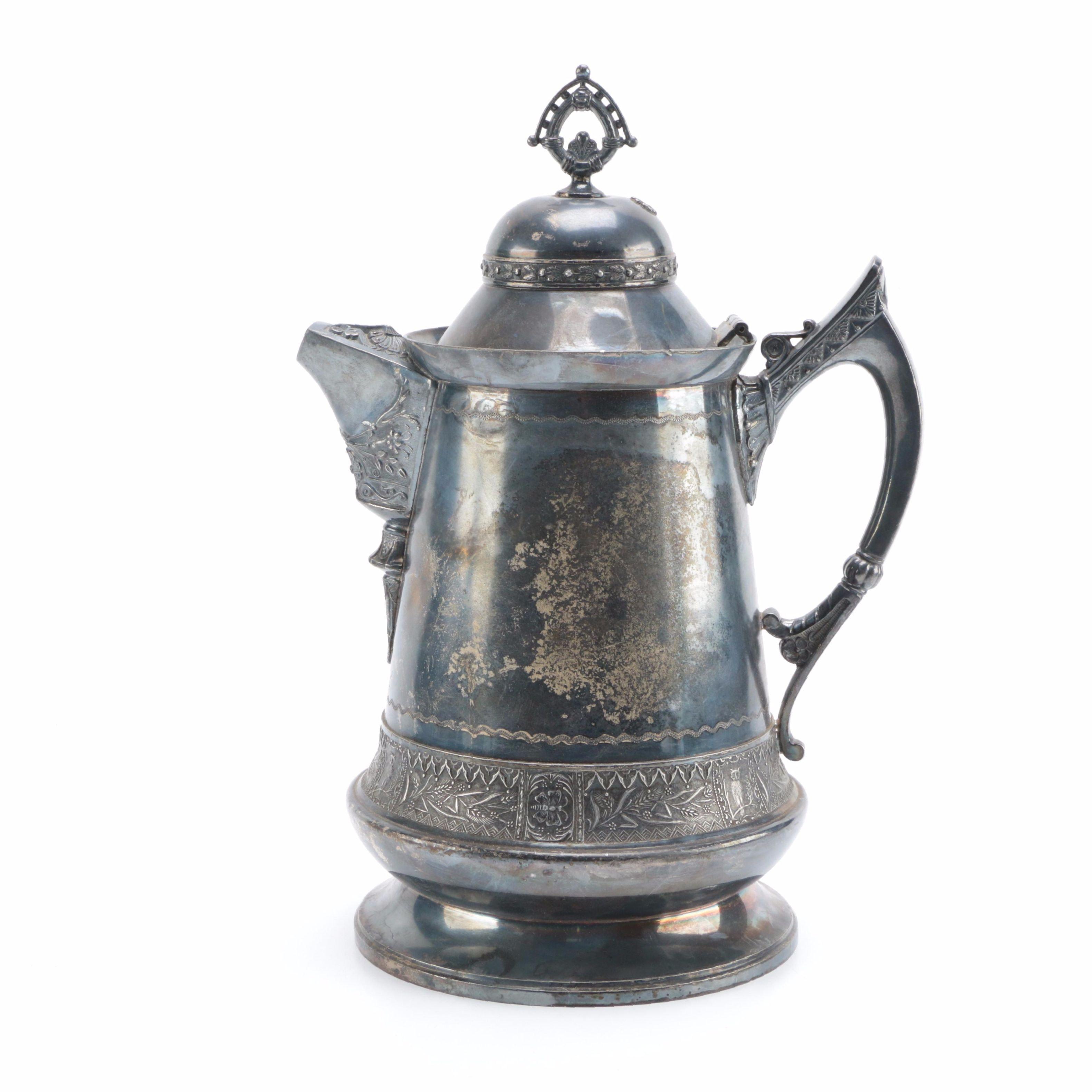 Antique Homans Silver Co. Quadruple Plated Silver Water Pitcher