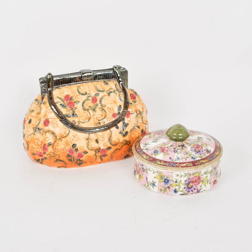 Purse Cookie Jar And Lidded Dish