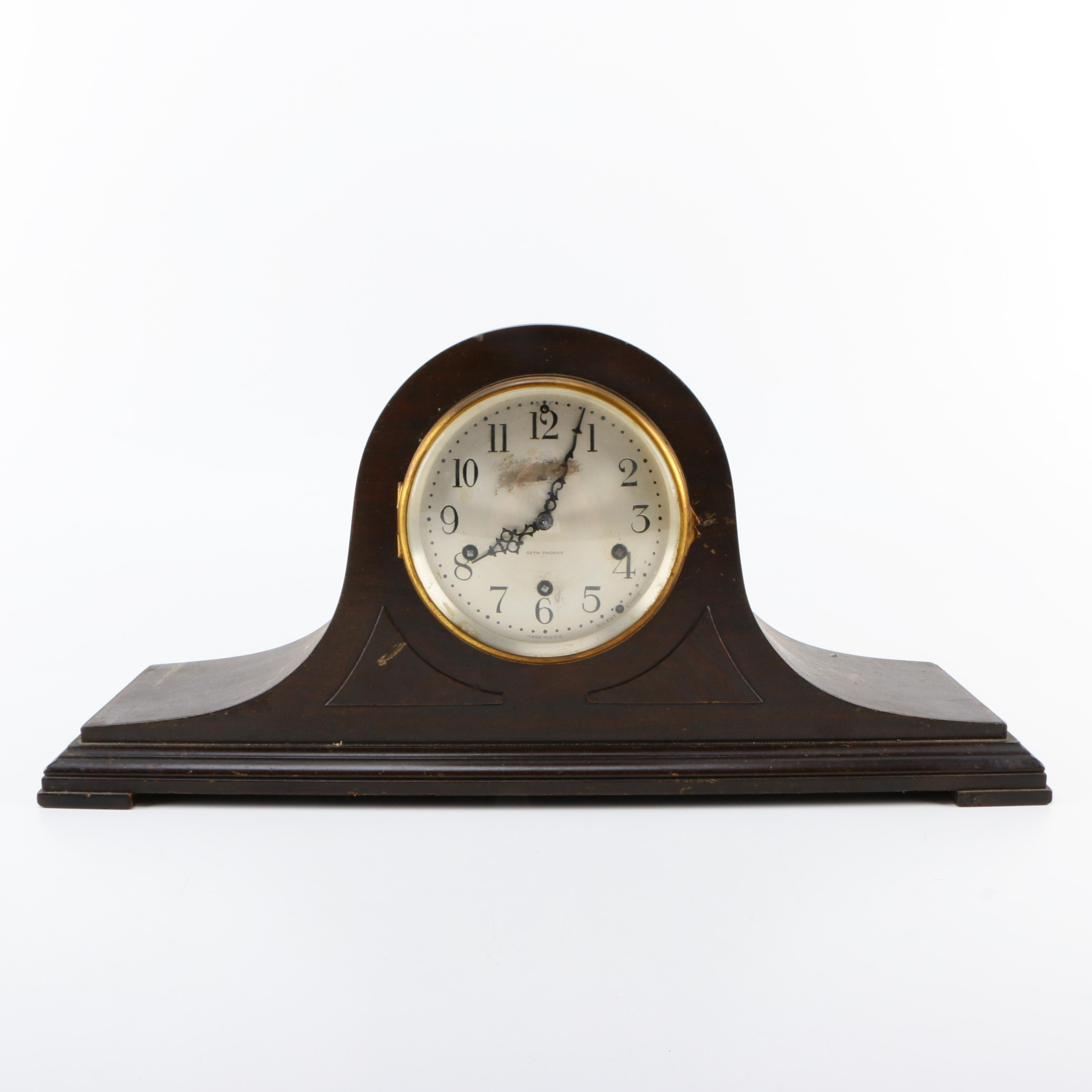 "1920s Seth Thomas """"No. 91Chime"" Tambour Mantel Clock"