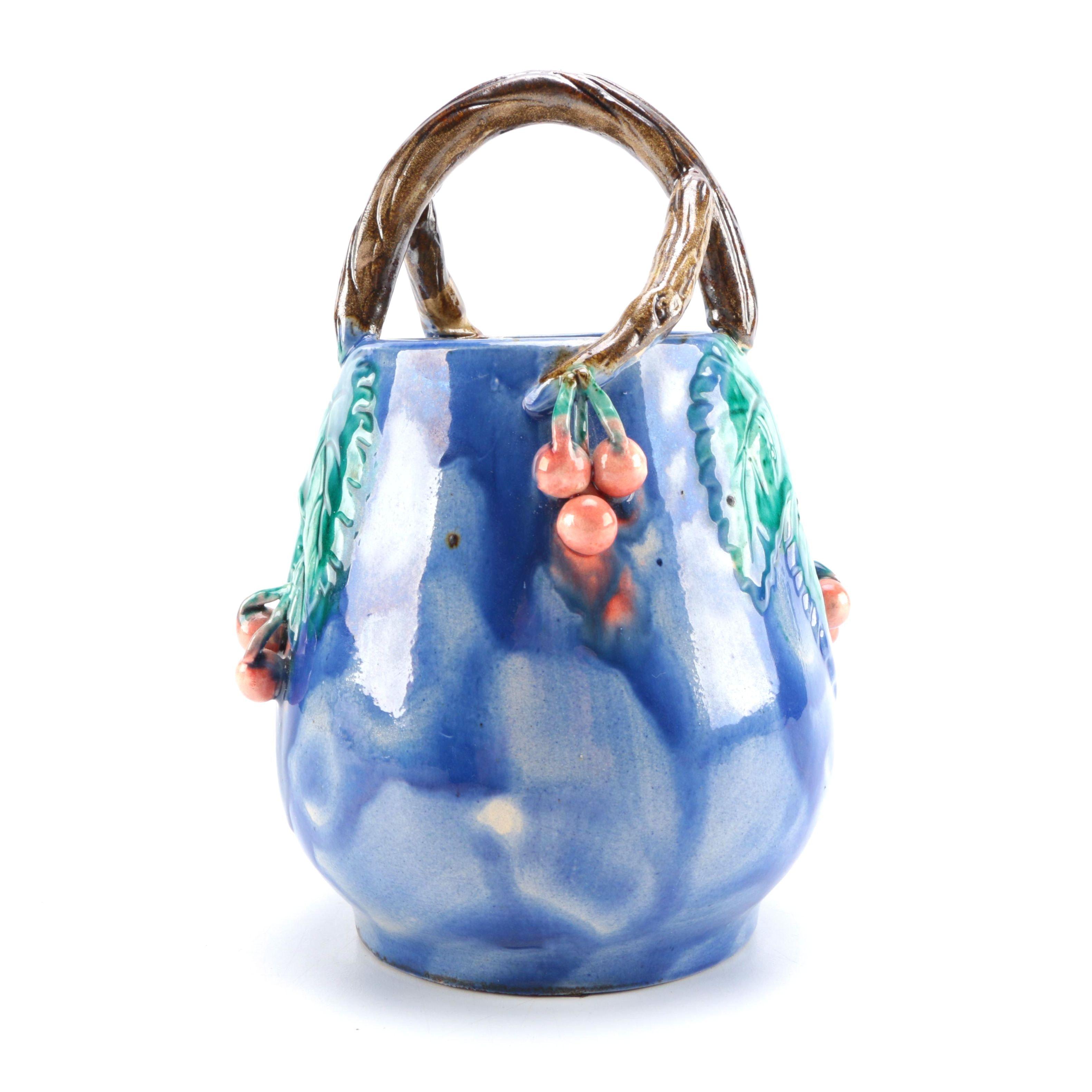 Decorative Blue Ceramic Basket
