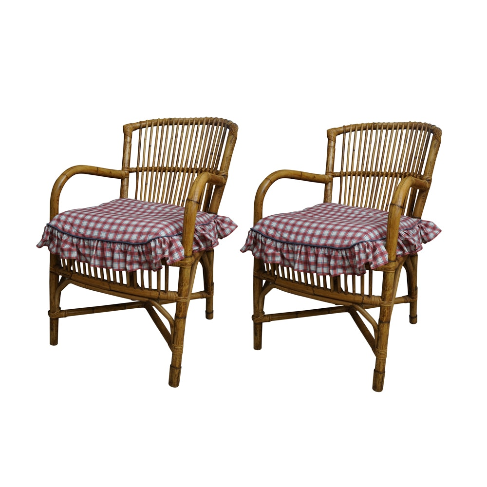 Spindle Back Rattan Armchairs