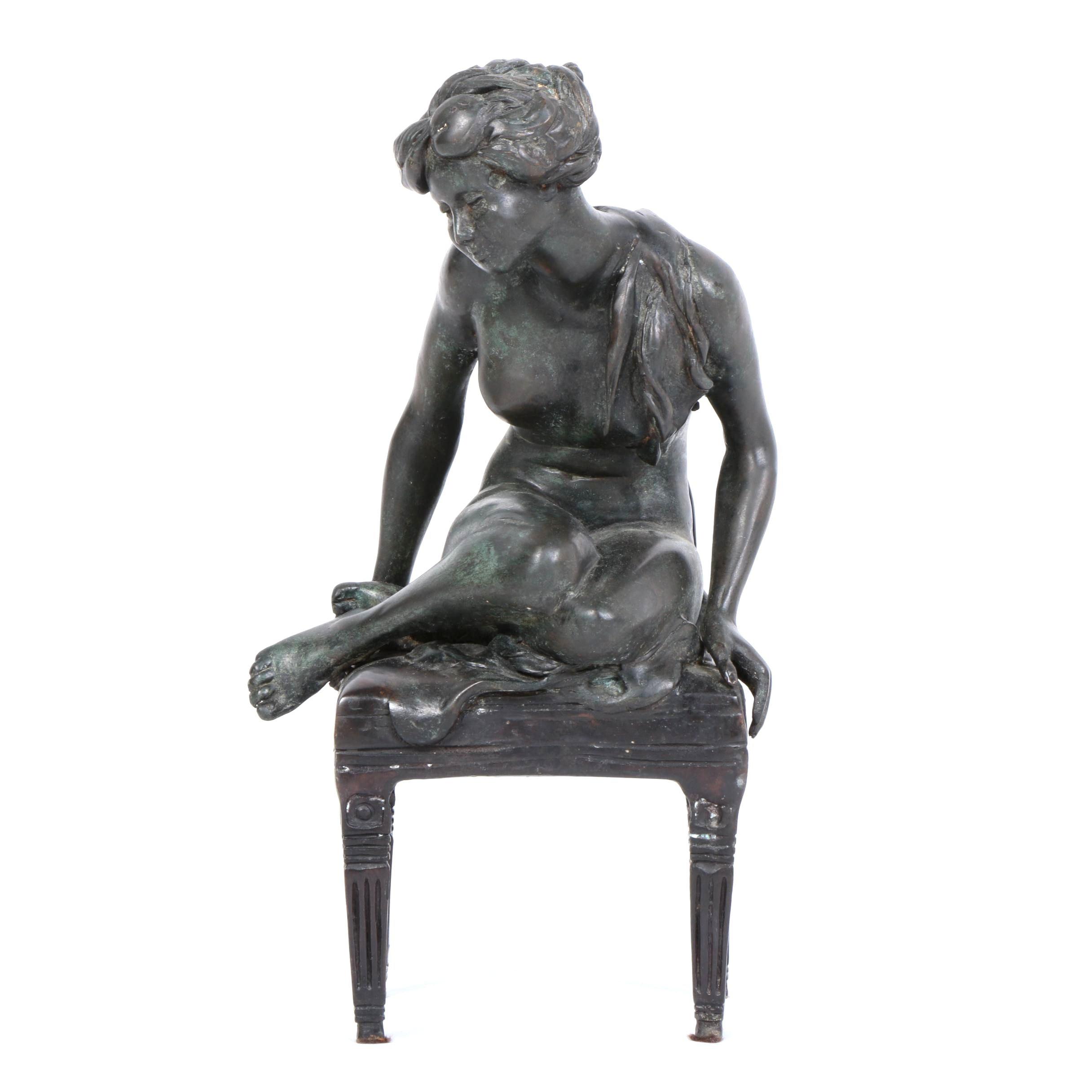 Cast Brass Female Nude Figural Sculpture