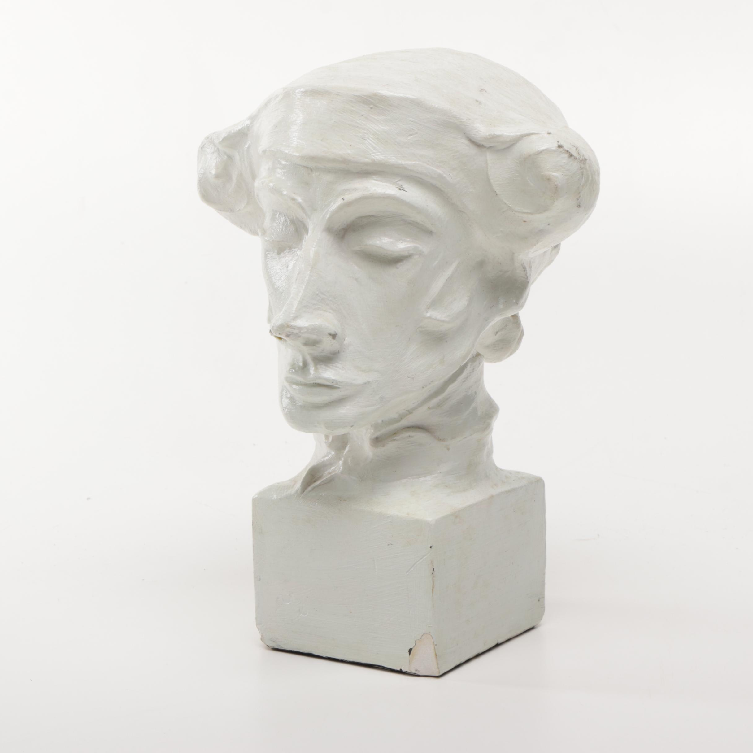 Plaster Sculpture of Male Bust