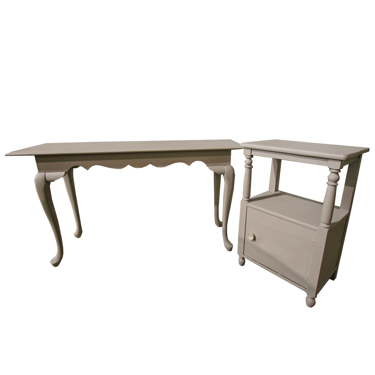 Gray-Painted Queen Anne Style Console Table and Side Table
