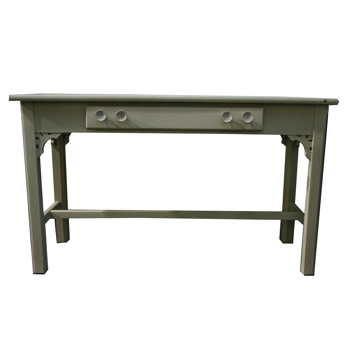 Vintage Chalk-Painted One-Drawer Console Table