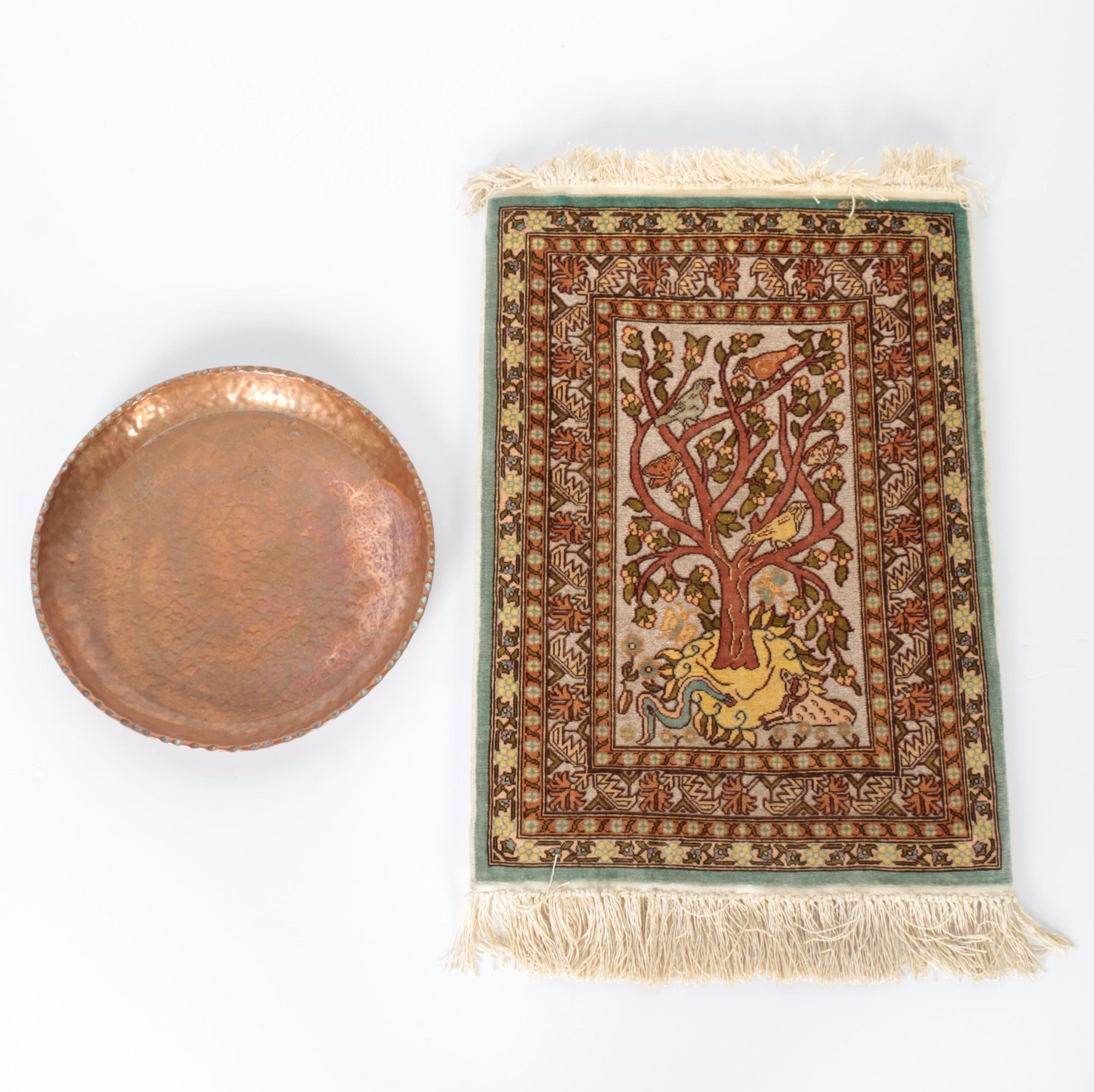 Hand-Knotted Silk Rug and Copper Plate