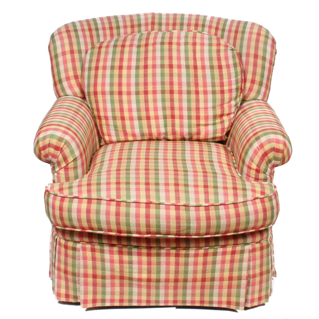 Checkered Upholstered Armchair by Pearson