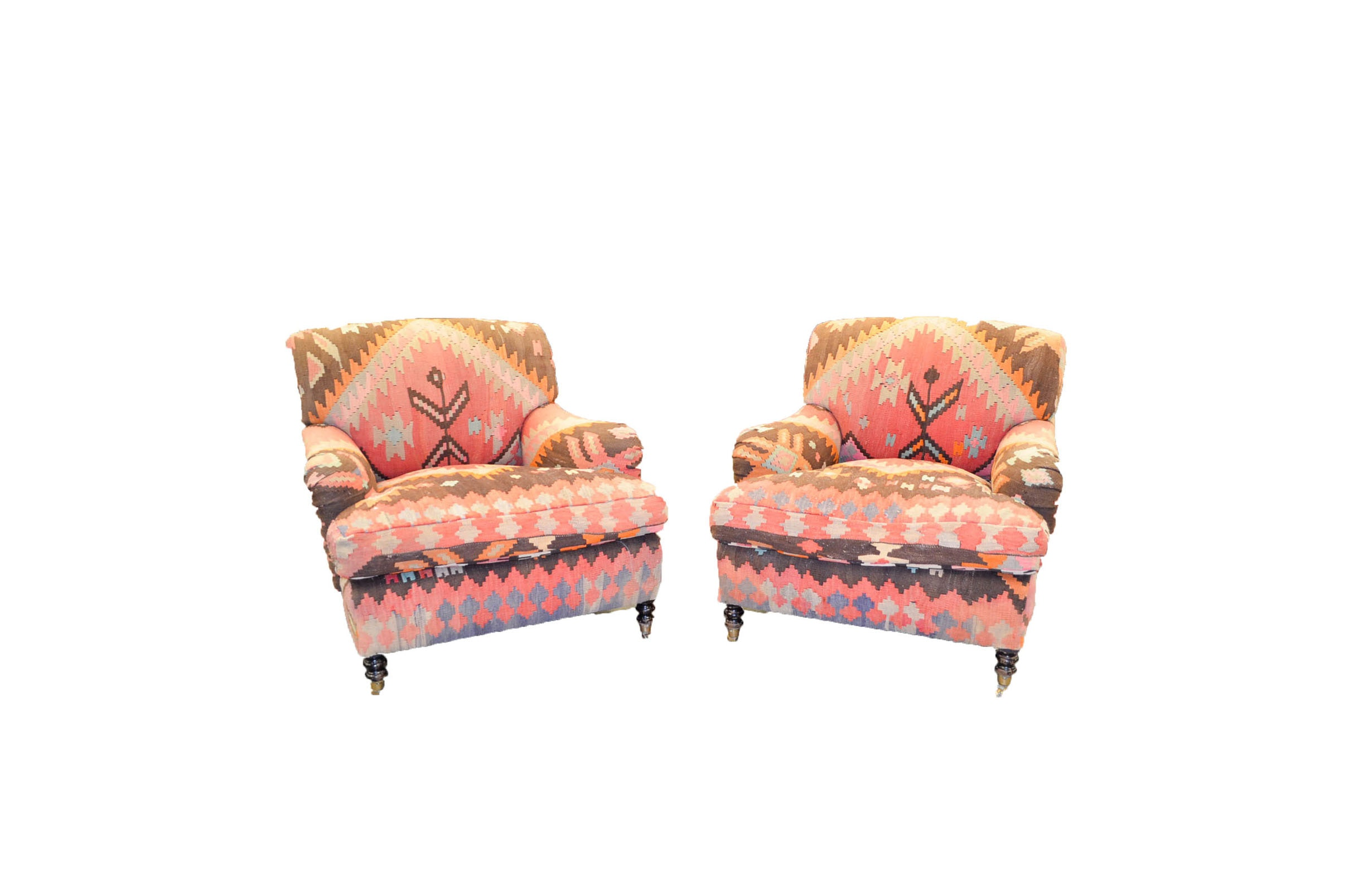 Kilim Upholstered Armchairs