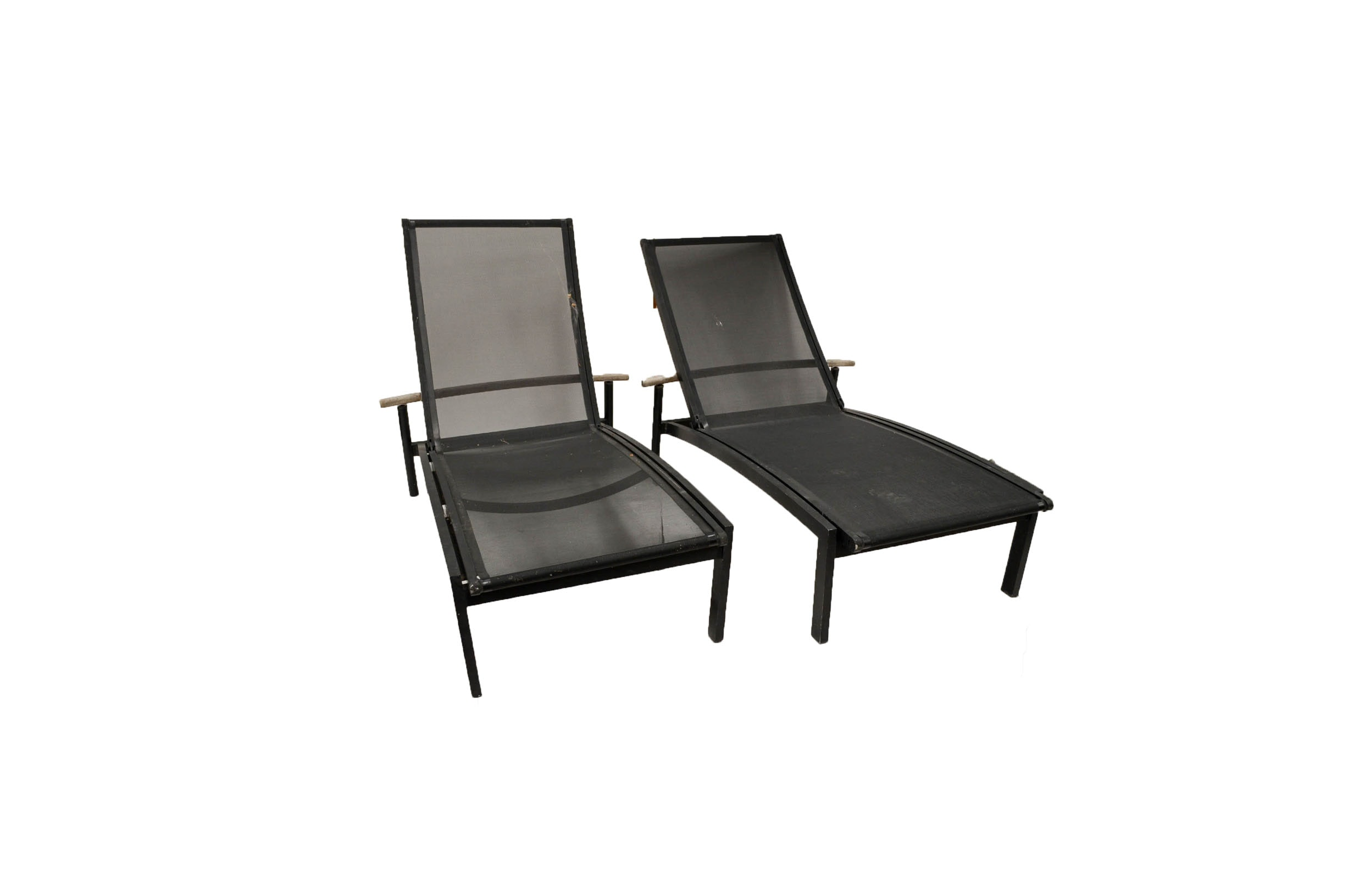Pair of Black Steel Outdoor Chaise Lounge Chairs