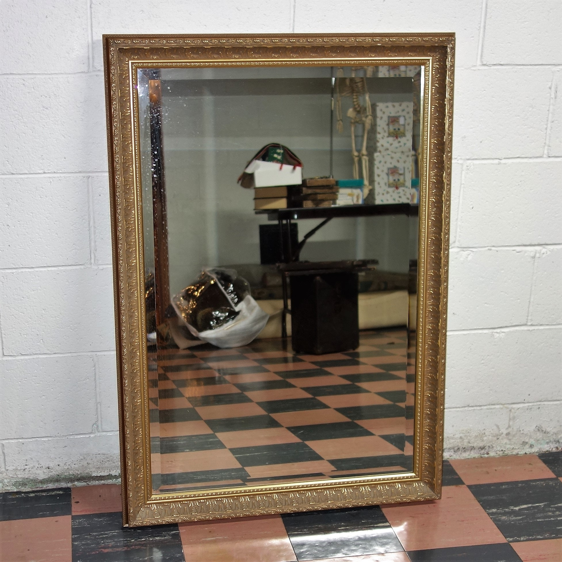 Vintage Rectangle Gold Toned Beveled Glass Mirror