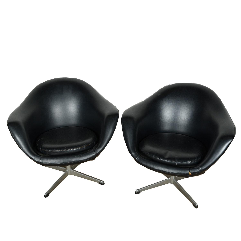 Mid Century Modern Style Vinyl Swivel Chairs