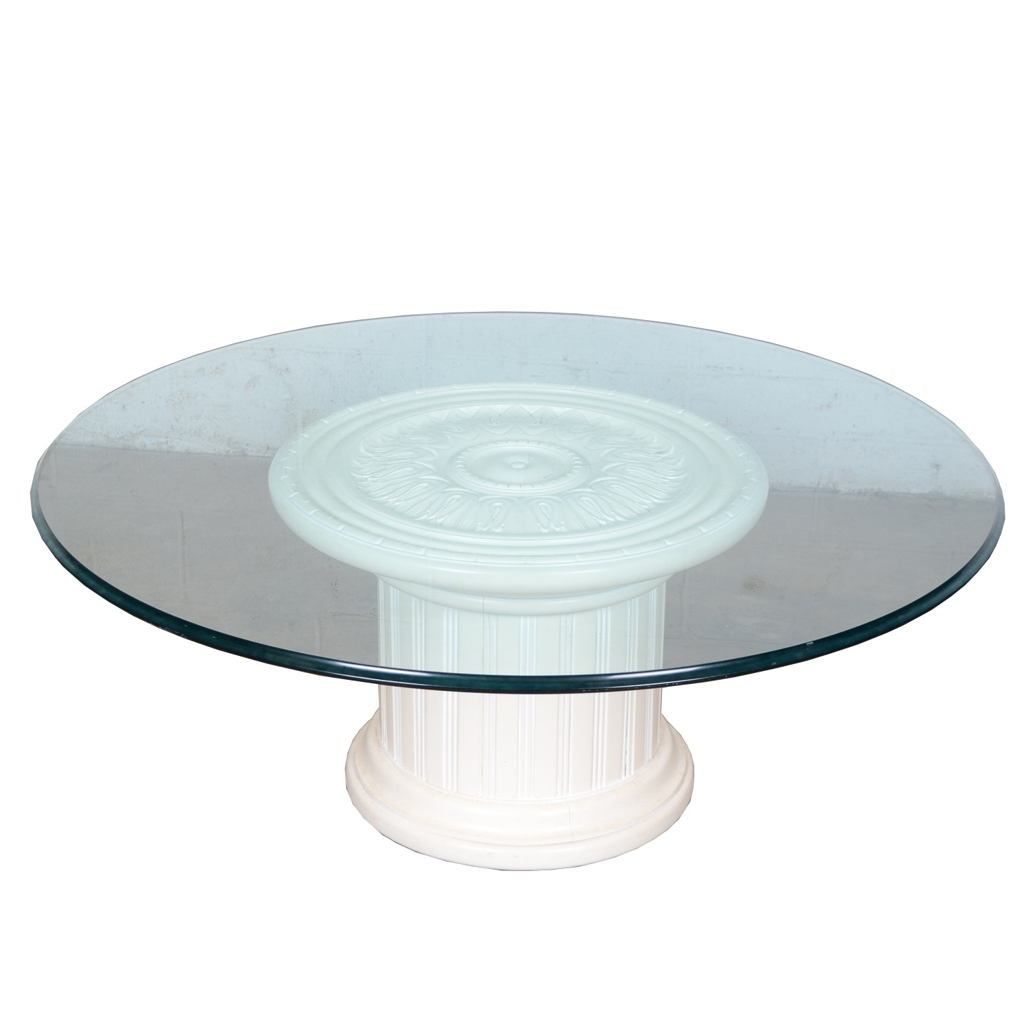 Drum Table with Glass Top