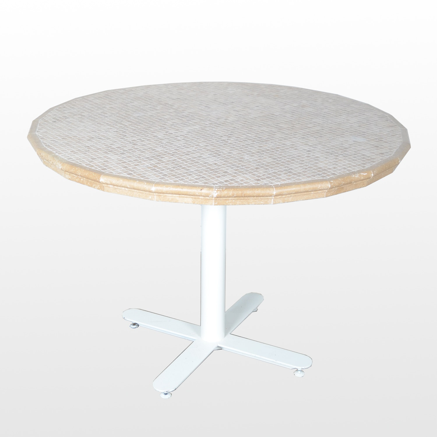 Tile Top Table with Metal Base