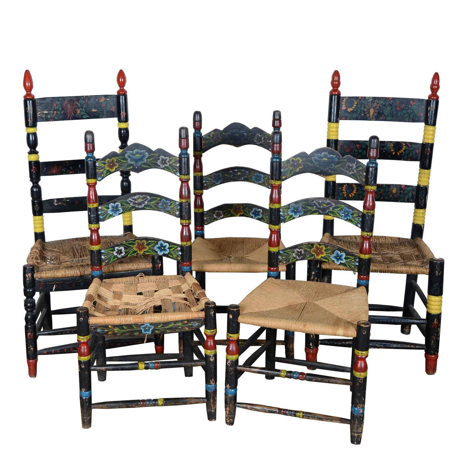 Five Painted Ladder Back Chairs