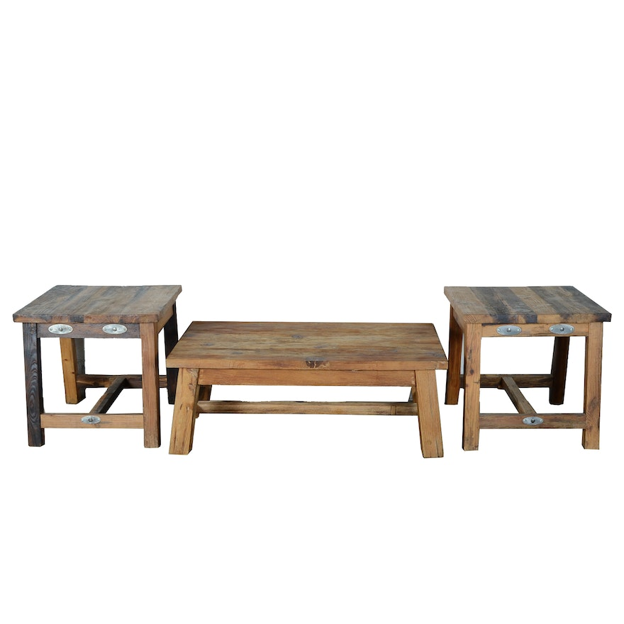 Rustic Pine Coffee Table And Two End Tables
