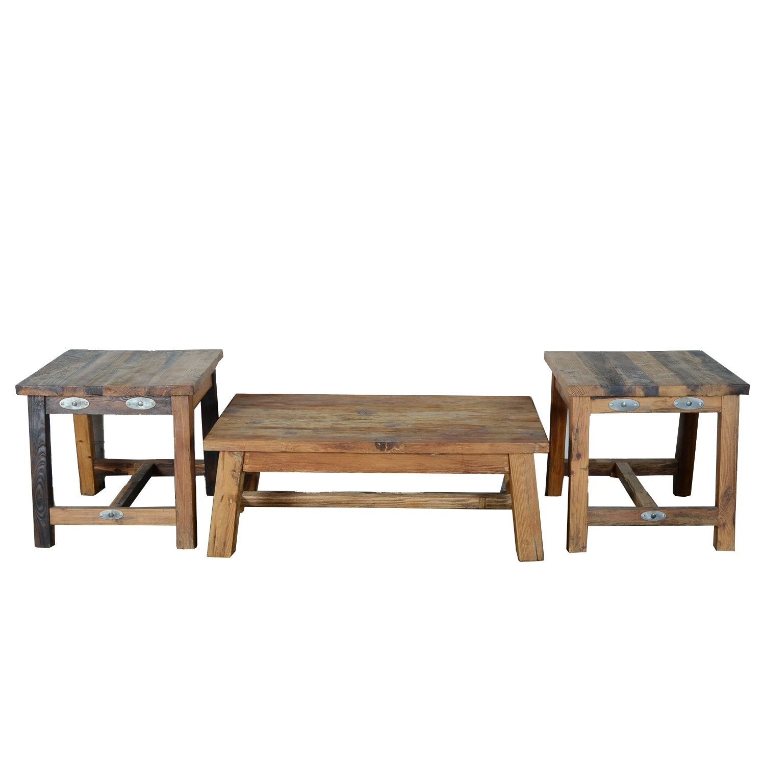 Rustic Pine Coffee Table And Two End Tables ...