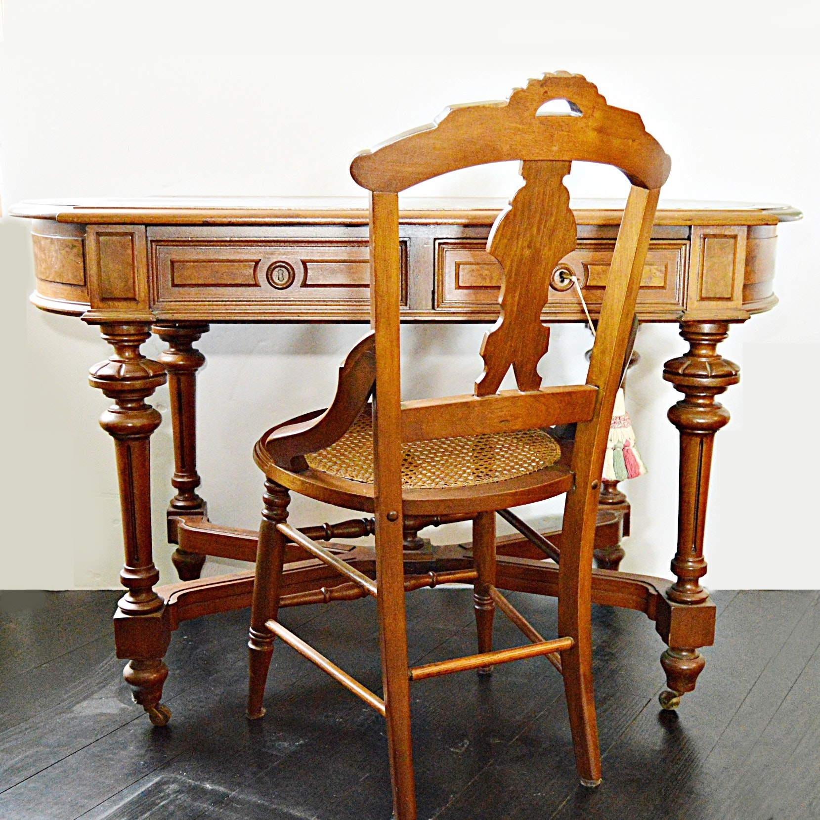 Victorian Eastlake Walnut Partner's Table Desk and Chair