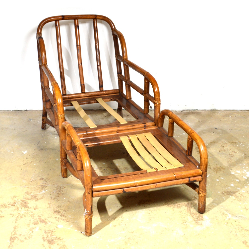 Vintage Rattan Chair and Footstool Frames by Ficks Reed
