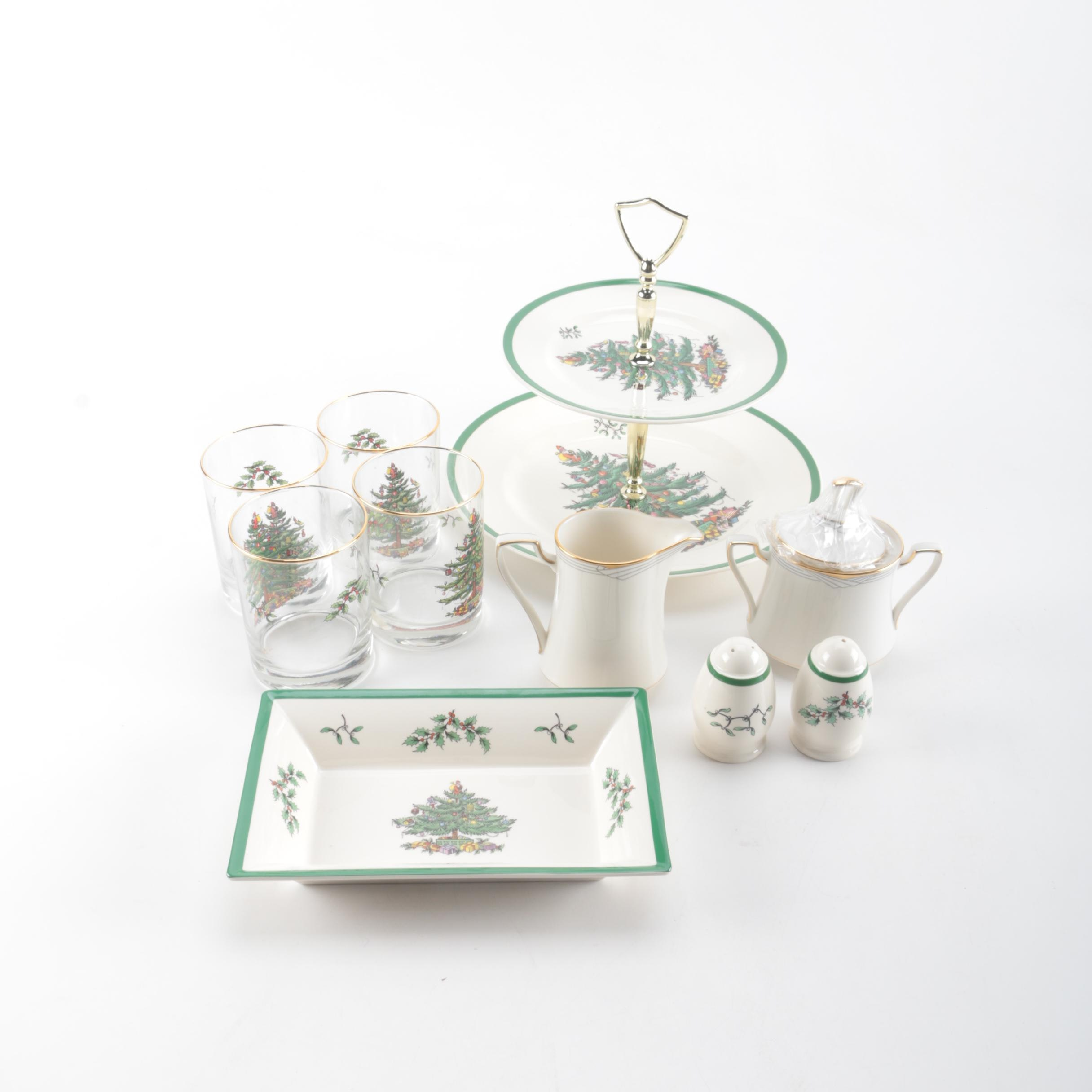 """Assorted """"Christmas Tree"""" Tableware by Spode"""