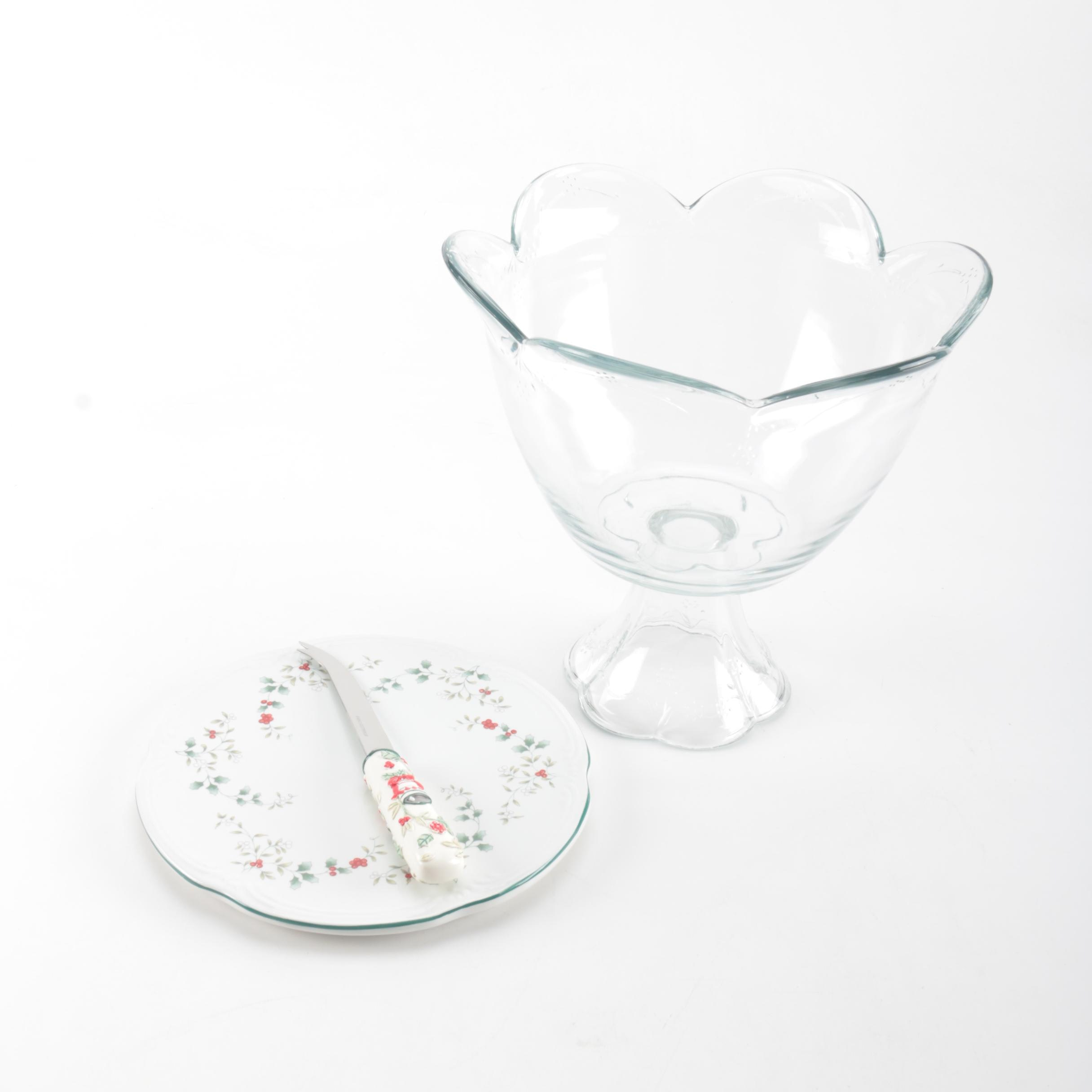 Glass Compote Bowl With Pfaltzgraff Plate and Knife