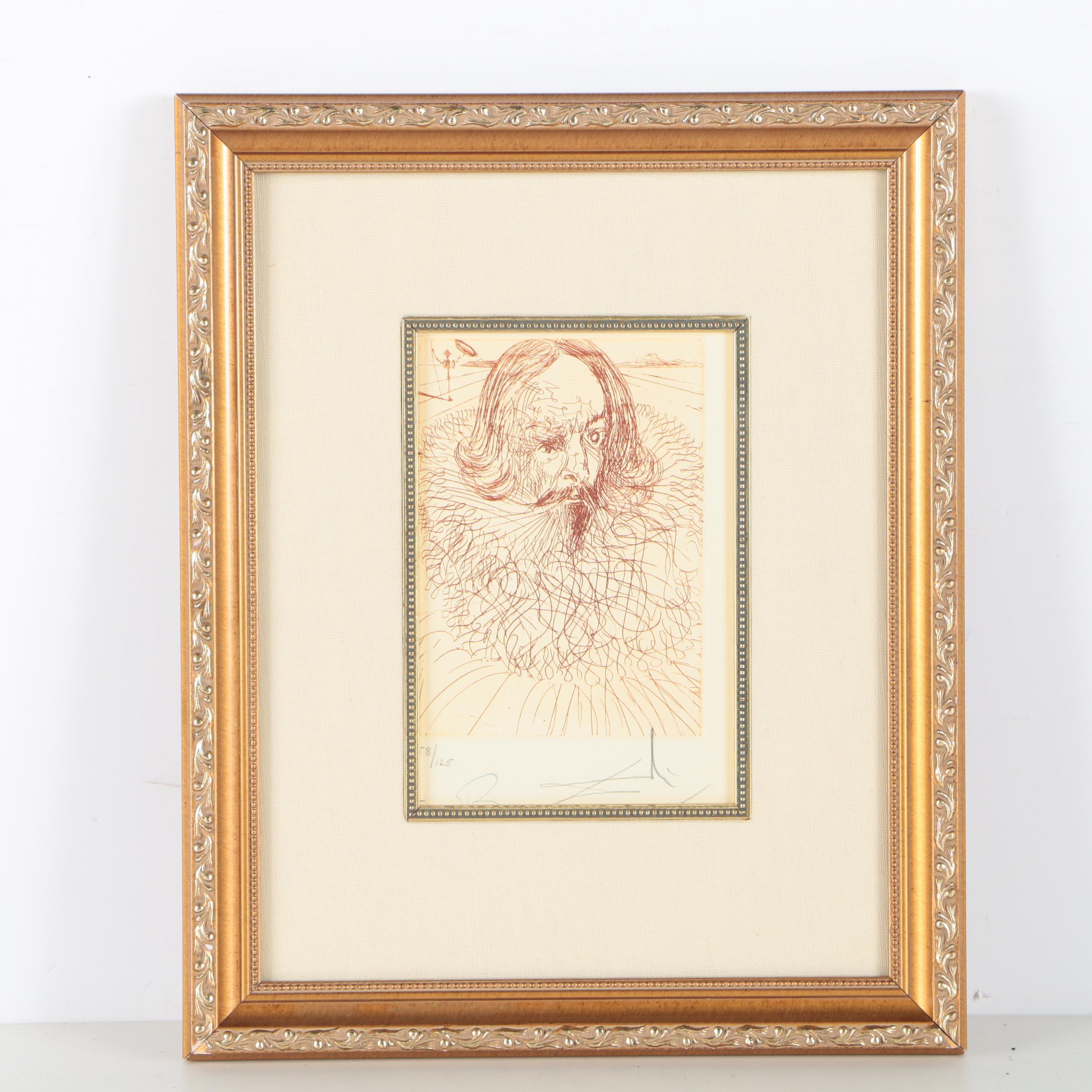"Salvador Dalí Limited Edition Etching ""Cervantes"""
