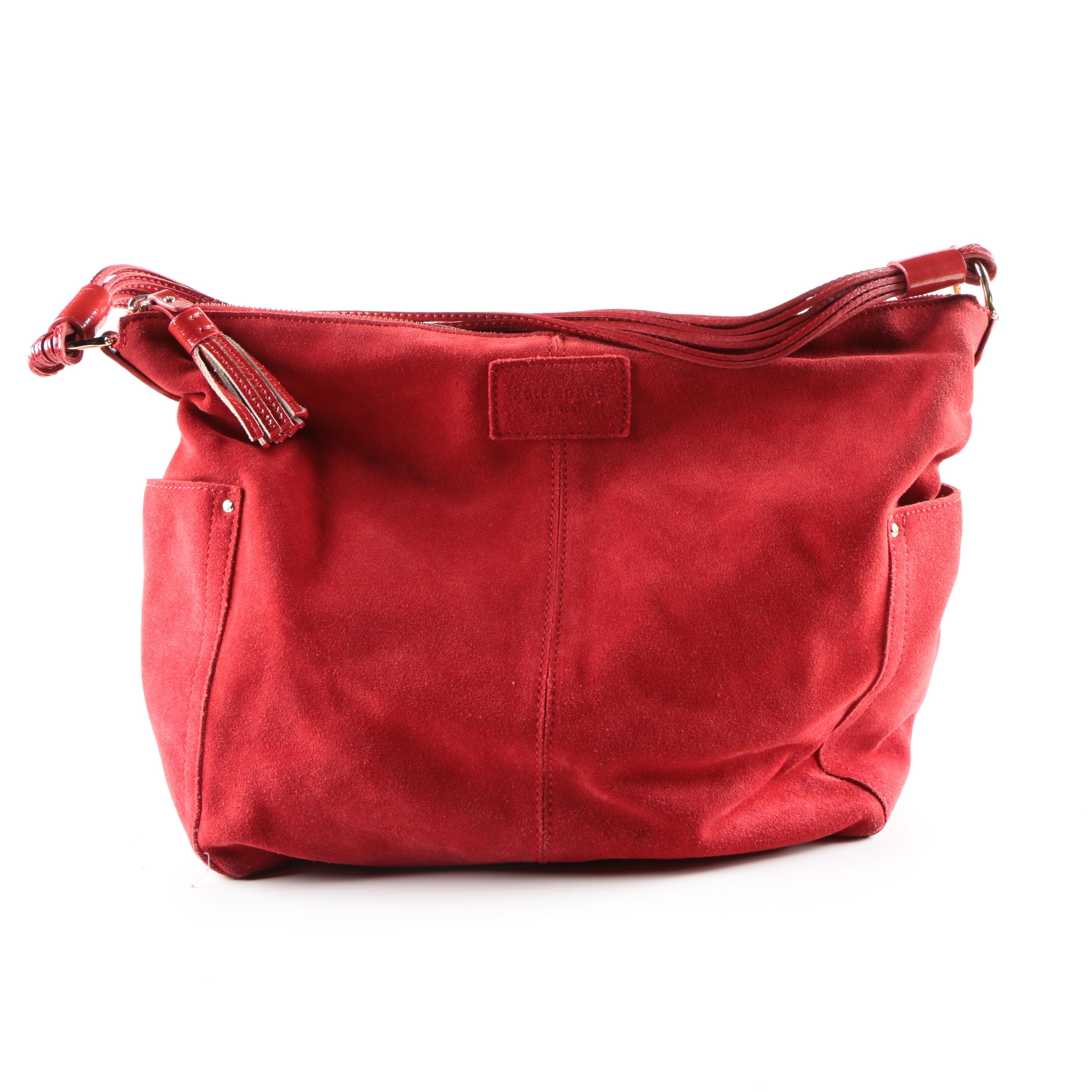 Kate Spade Red Suede Handbag Ebth