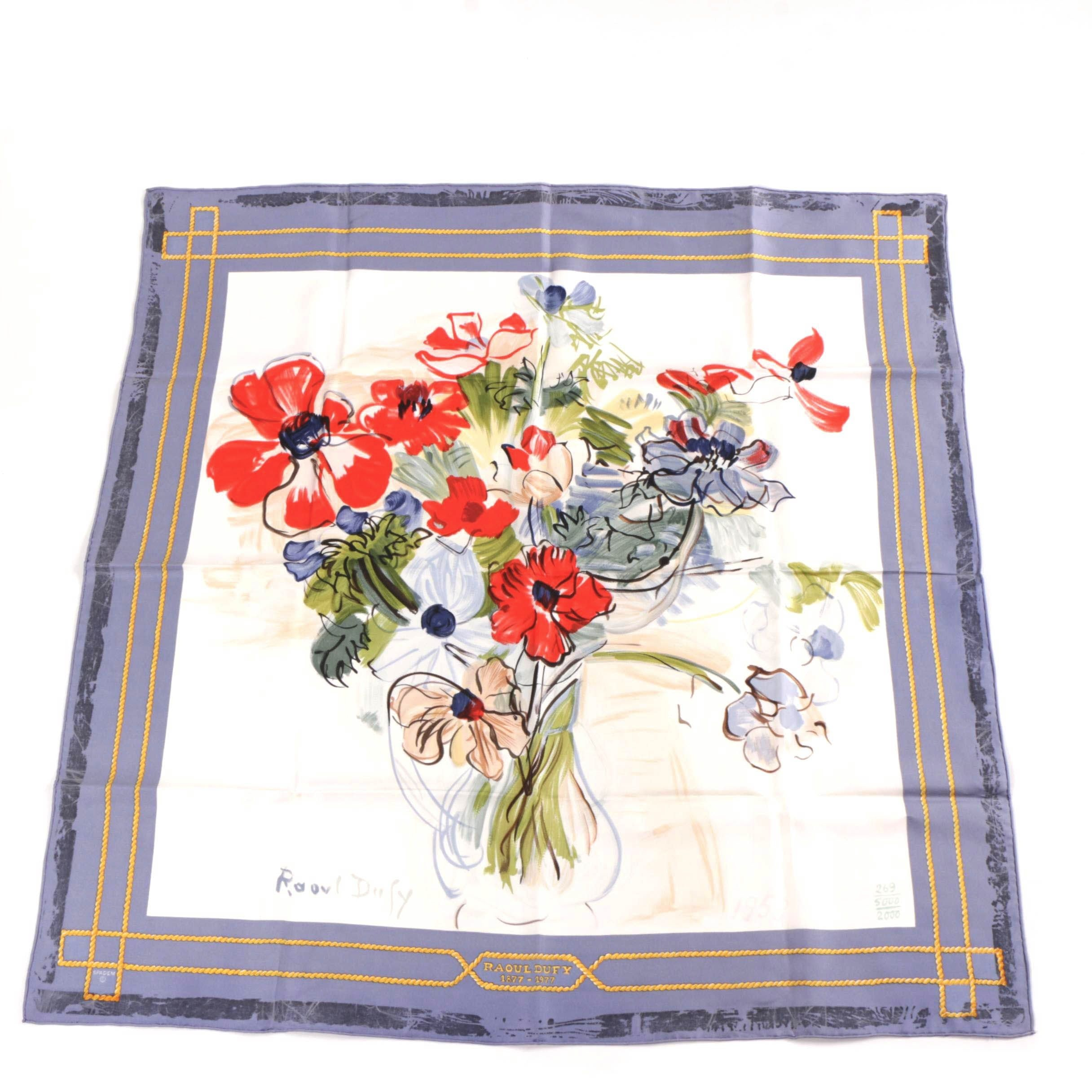 "Spadem Limited Edition Silk Handkerchief After Raoul Dufy ""Anémones"""