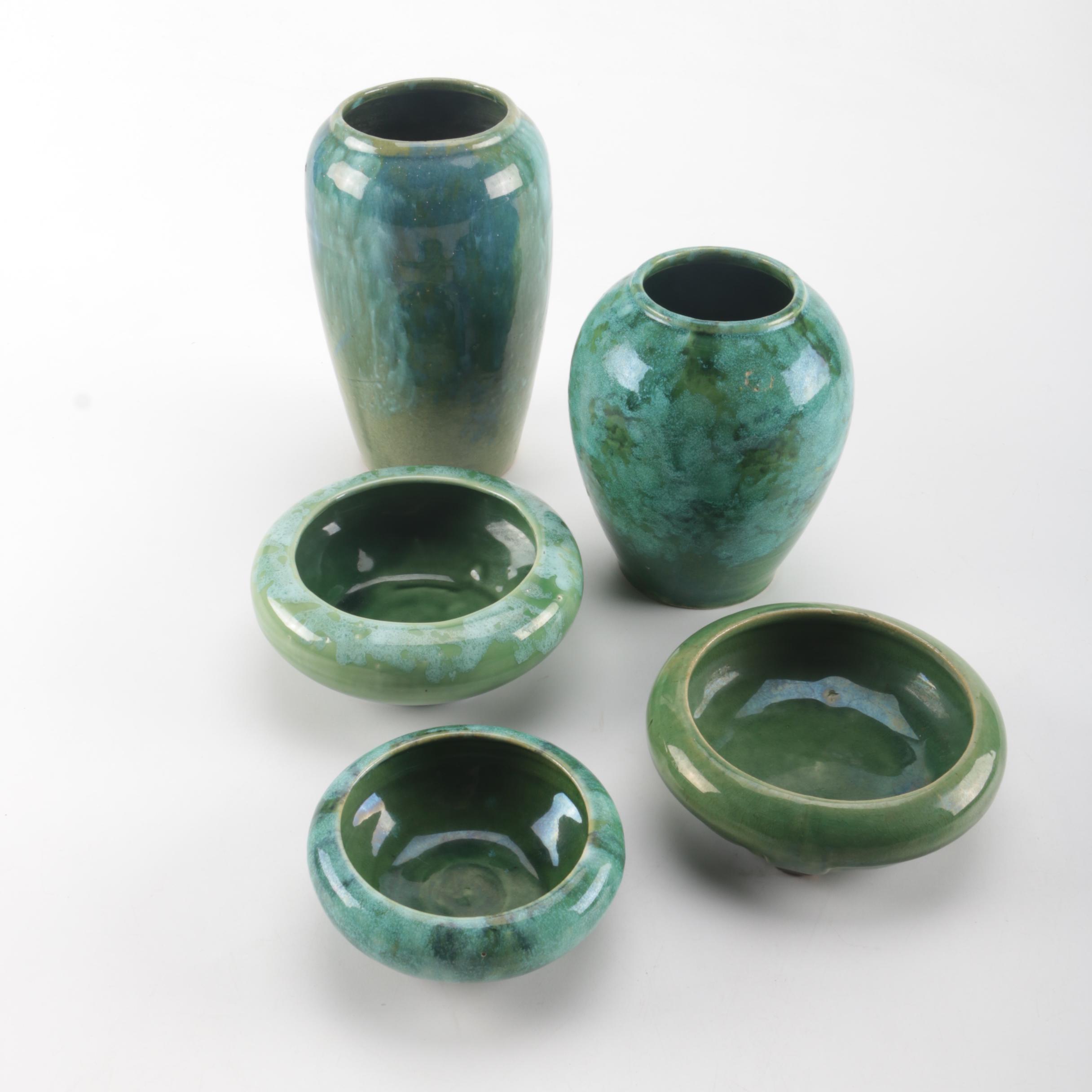 Set of Green Ceramic Vases and Ceramic Trinket Bowls