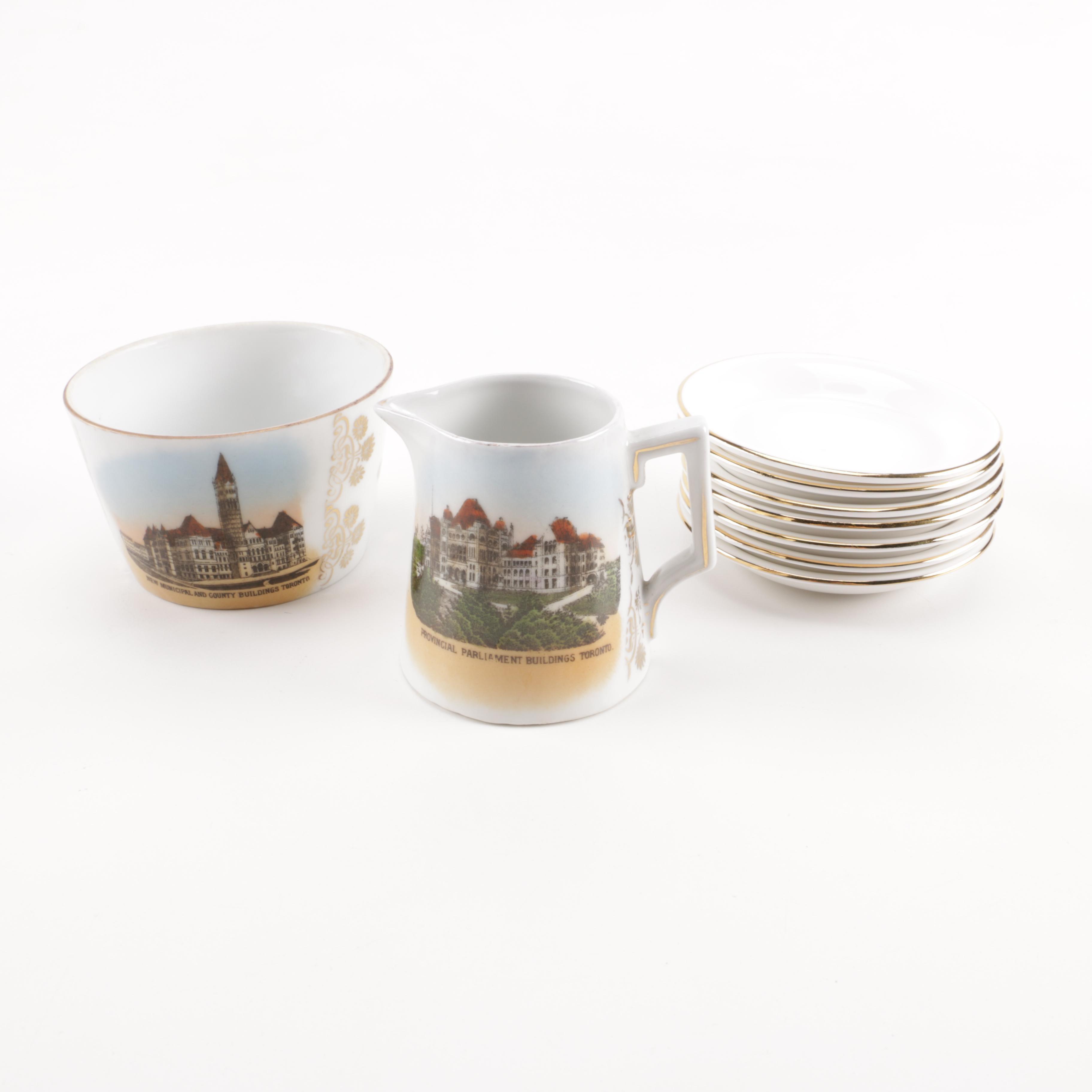 Royal Albert Bone China Saucers and Souvenir Ceramics