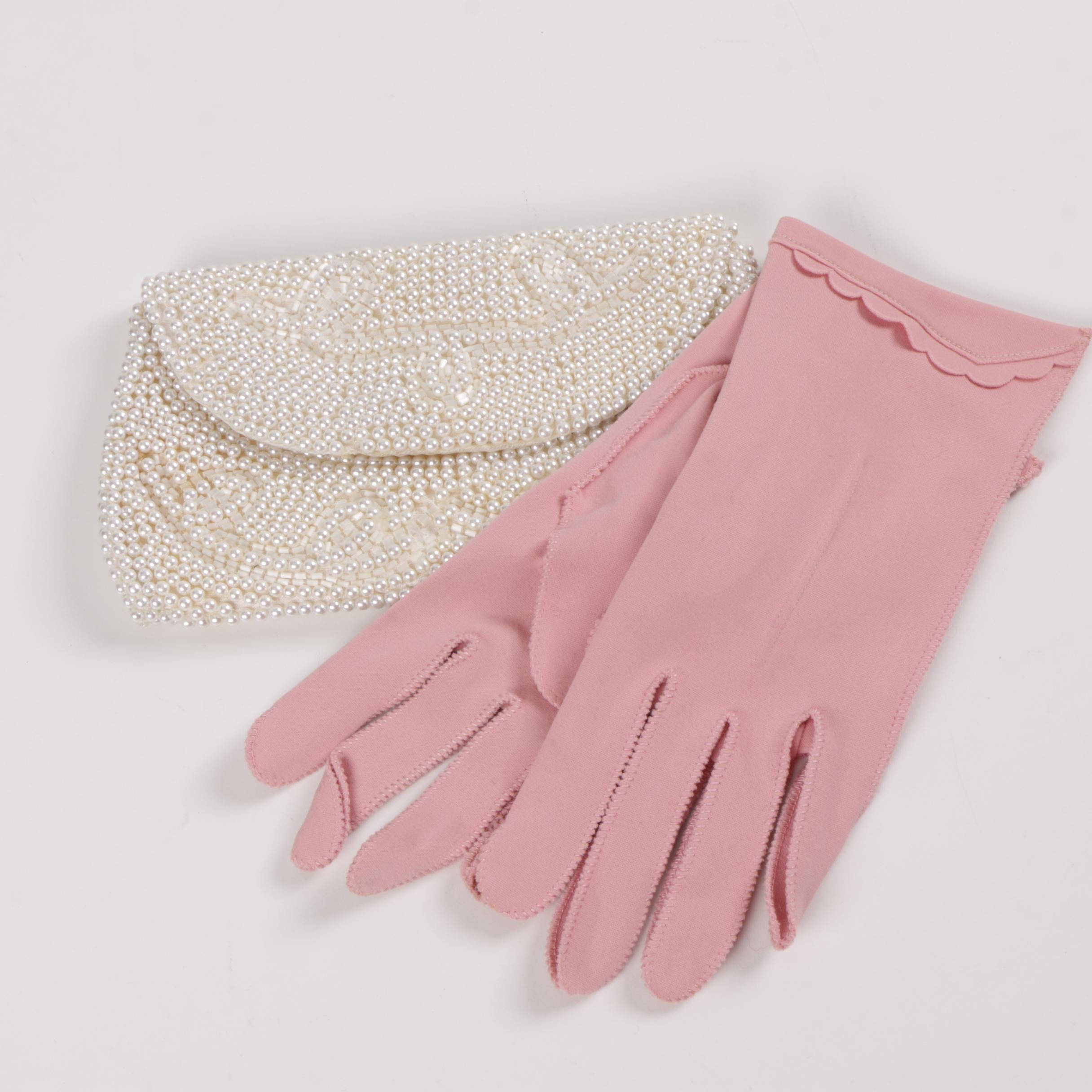 Vintage Pairing of Gloves and Clutch