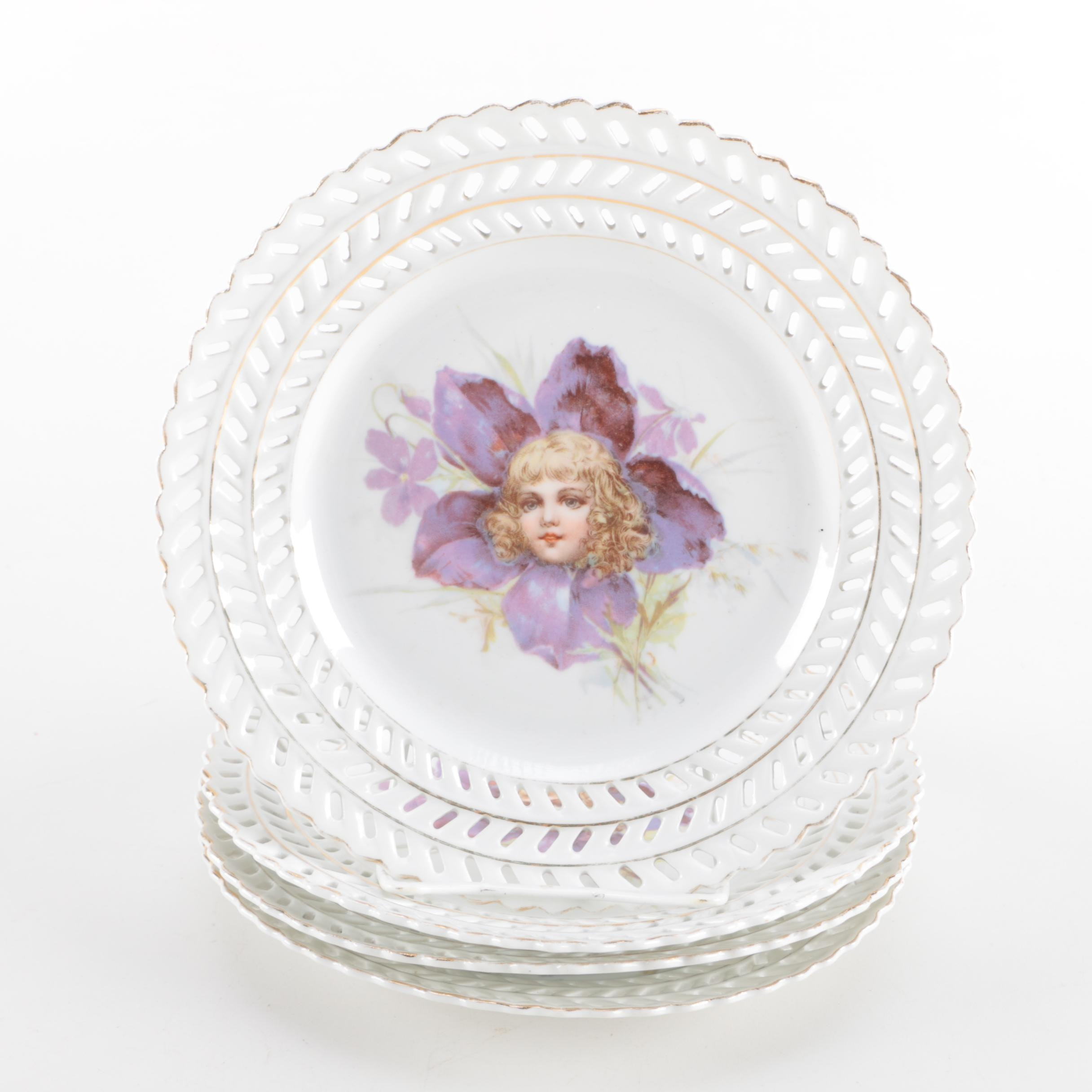 Victorian Porcelain Plates With Flower Face Colored Transfer Prints