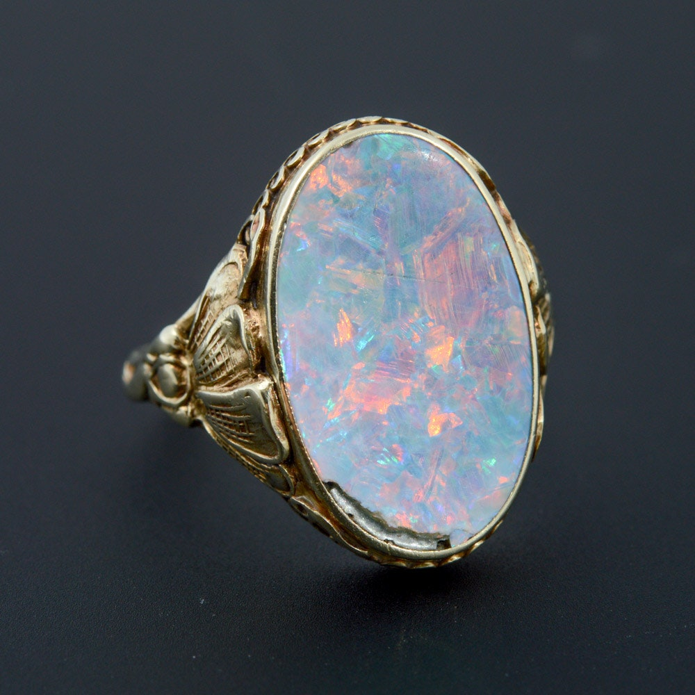 14K Yellow Gold Natural Opal Doublet Ring