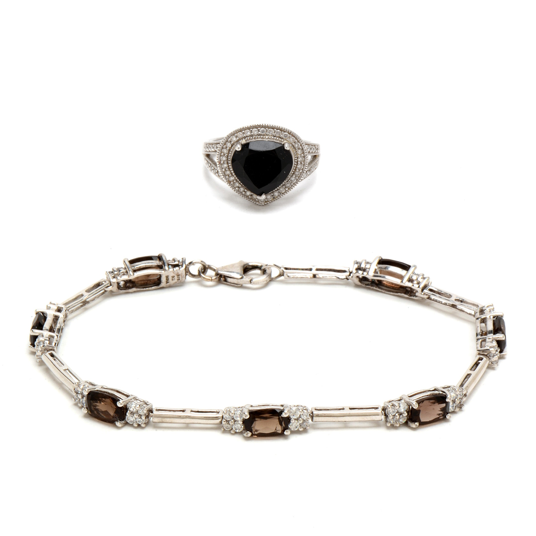 Pairing of Sterling Silver Jewelry with Smoky Quartz and CZs