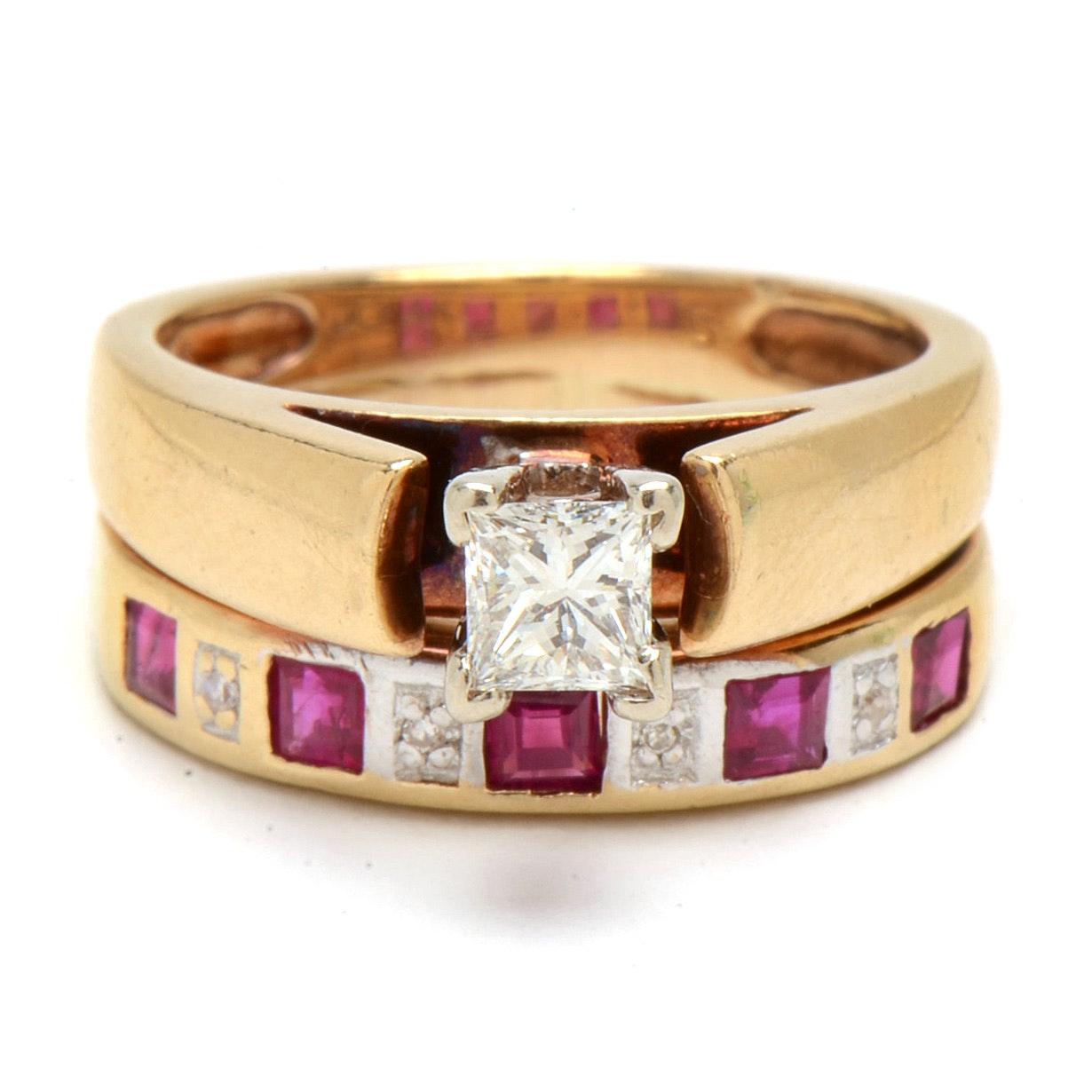 14K Yellow Gold Diamond and Ruby Bridal Ring Set