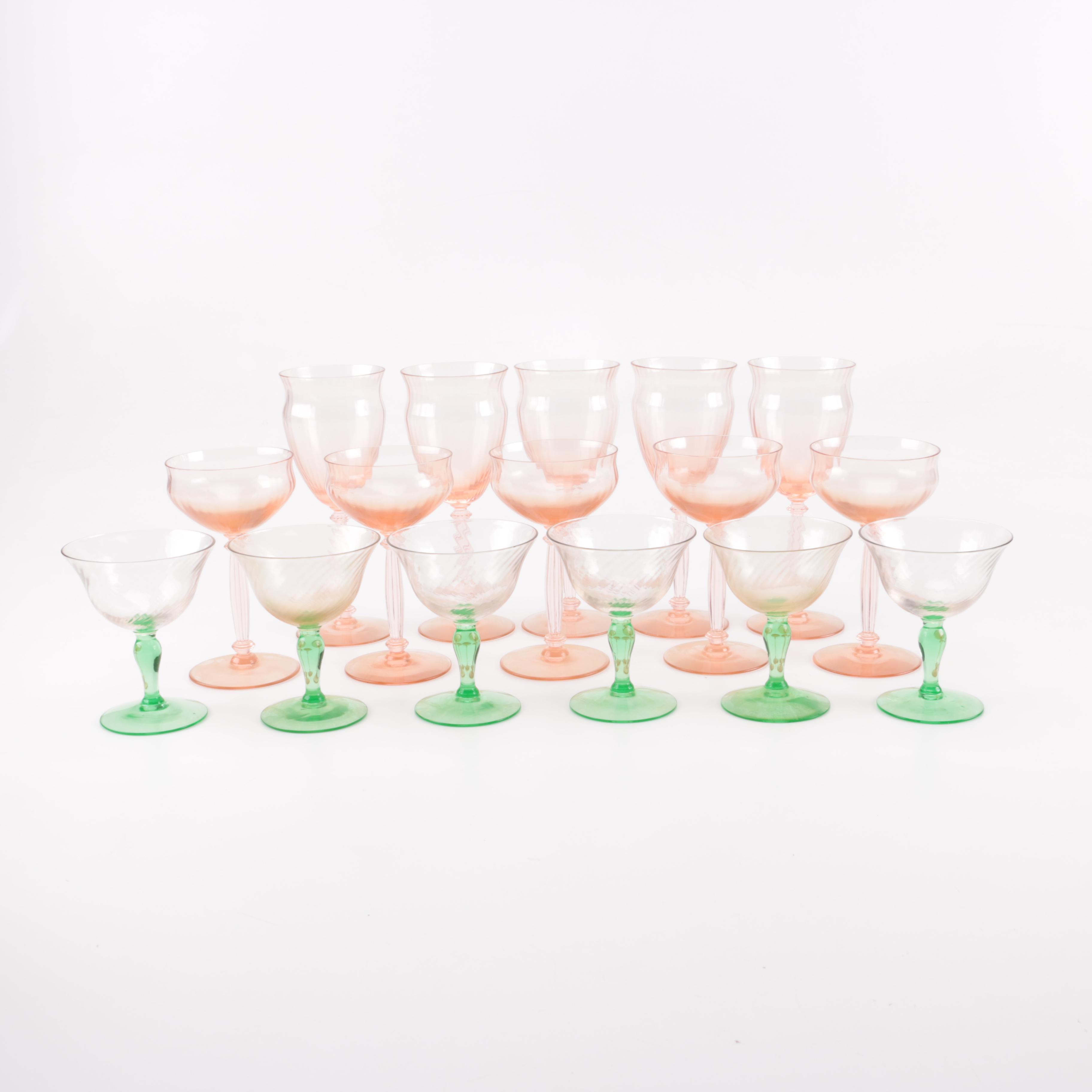 Collection of Depression Glass Stemware