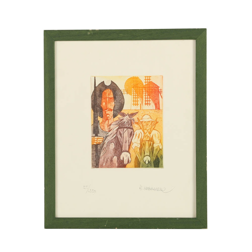 Limited Edition Color Etching on Paper Don Quixote Scene