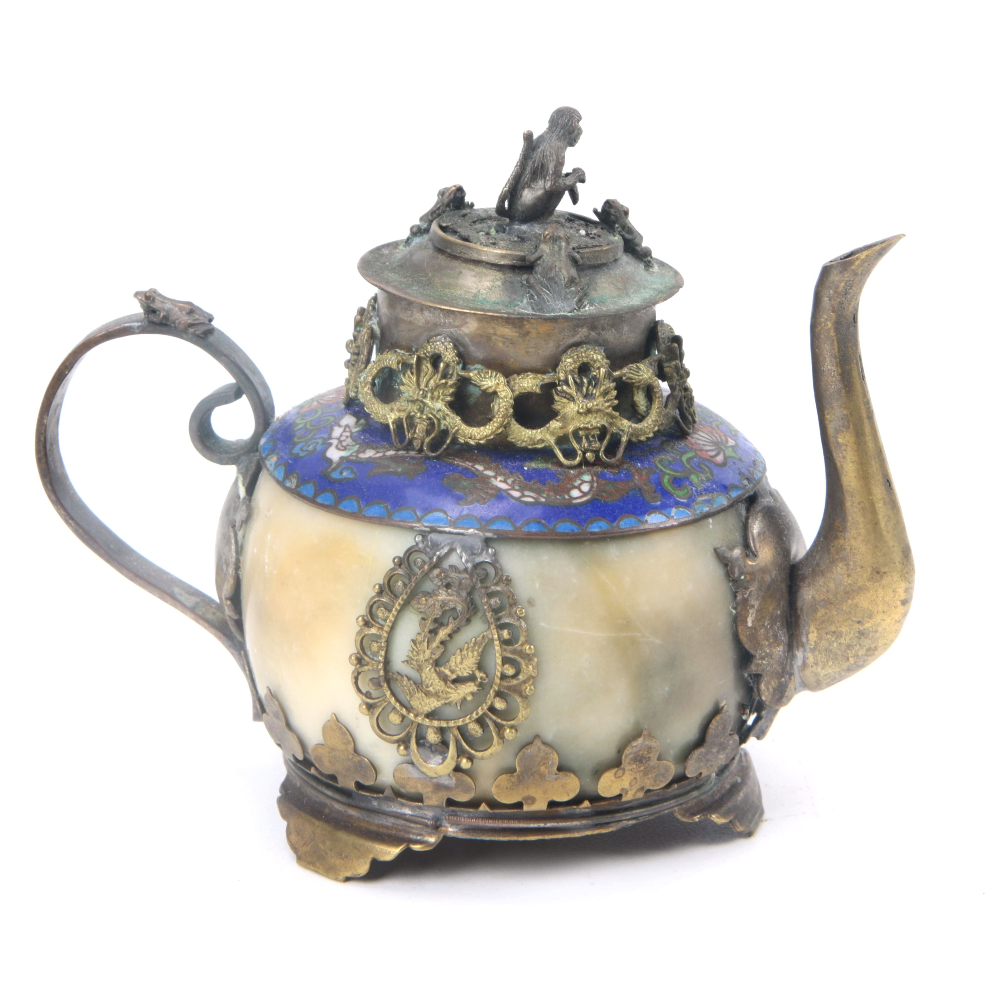 Brass, Soapstone and Cloisonne Teapot