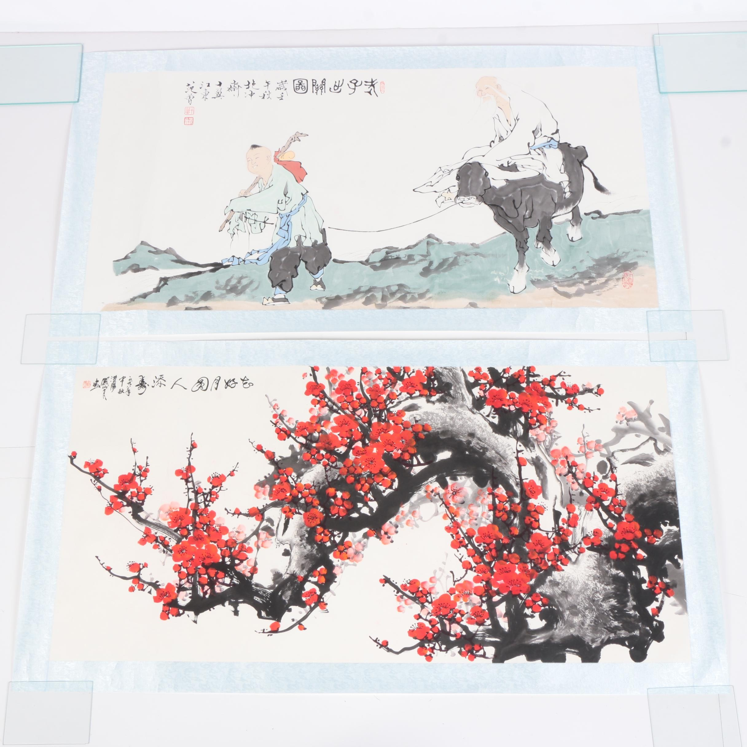 East Asian Ink and Watercolor Paintings on Paper of Plum Blossoms and Two Men With a Water Buffalo