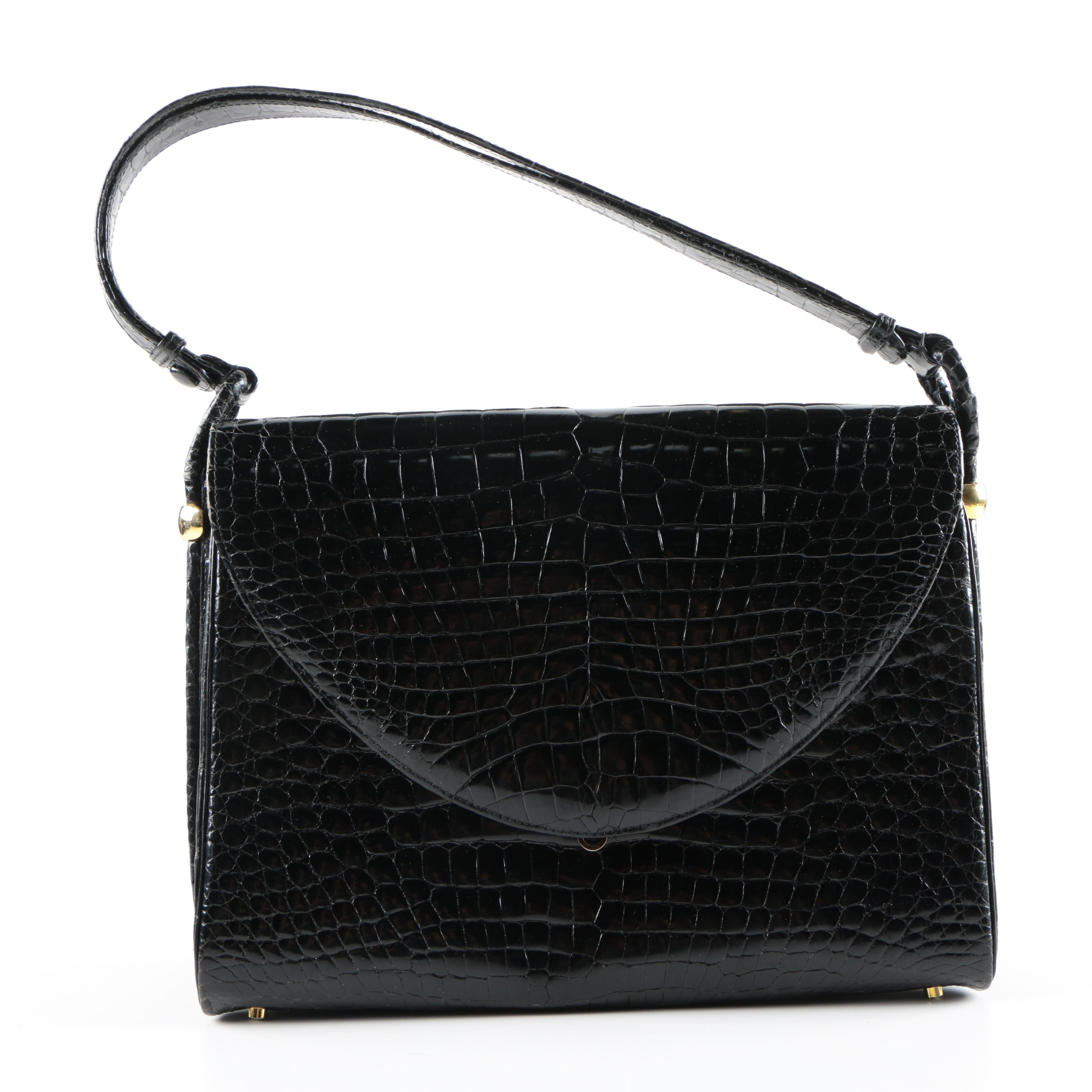 Black Alligator Embossed Italian Leather Handbag