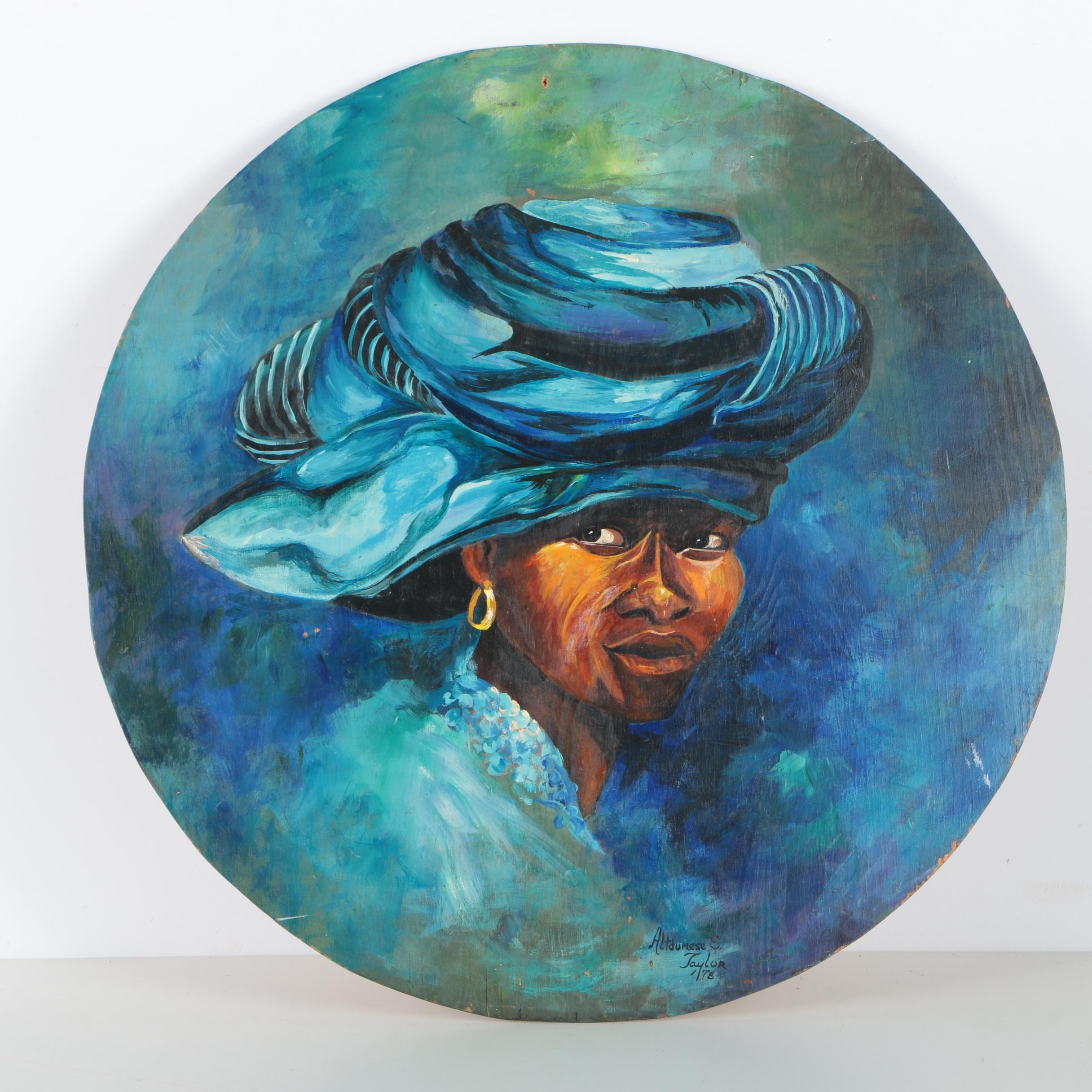 Altdumese S. Taylor Oil Portrait Painting on Board