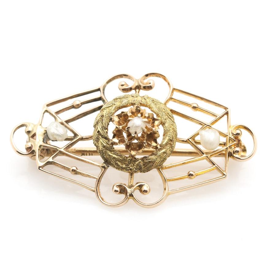 9abca826606 Victorian 10K Mixed Gold Cultured Pearl Brooch : EBTH