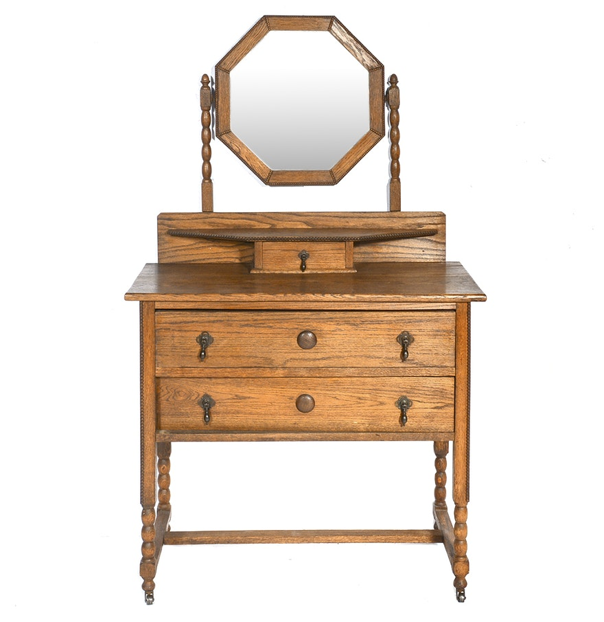 Antique Oak Vanity with Mirror ... - Antique Oak Vanity With Mirror : EBTH