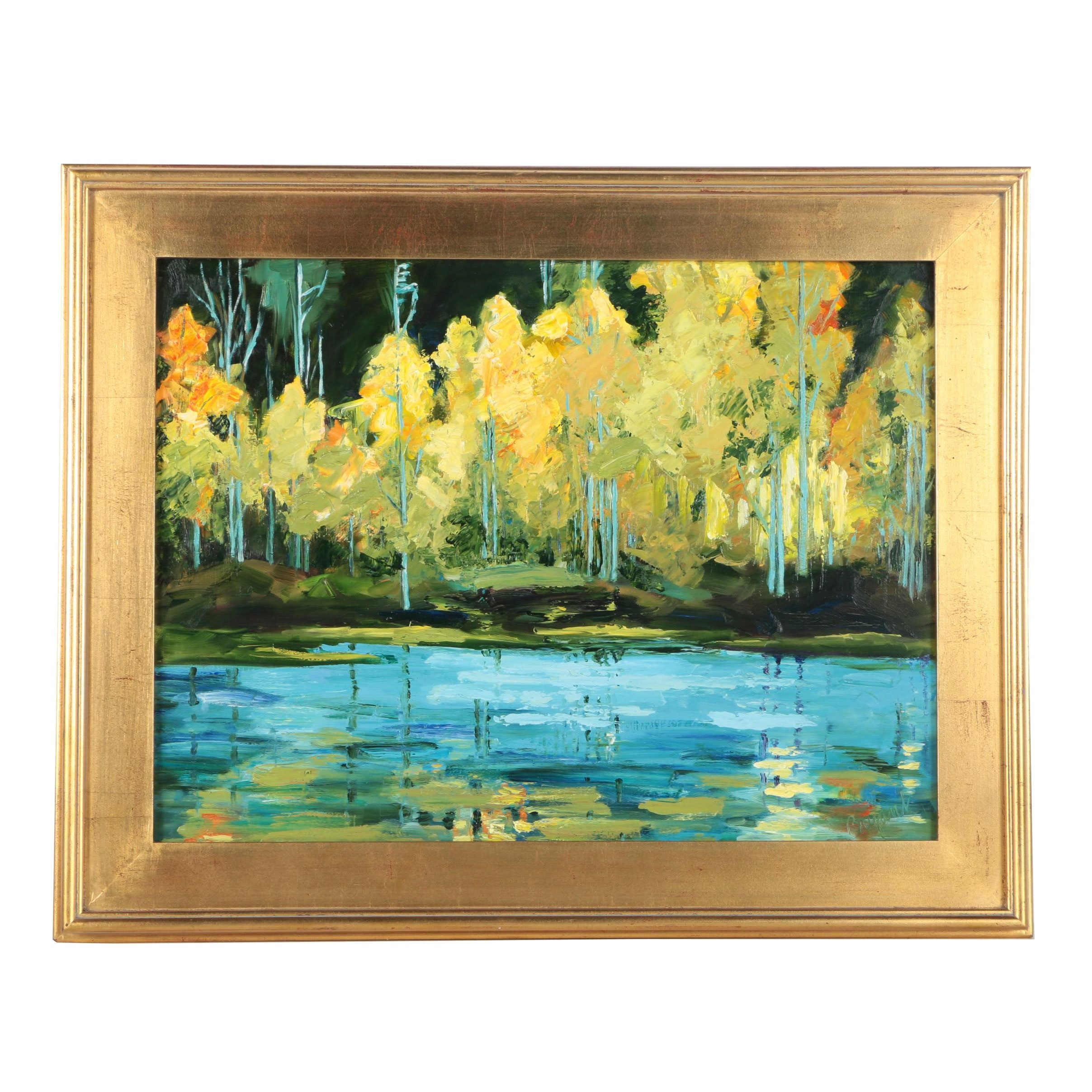 """Catherine Bryant Oil Painting on Panel """"Blue Lake"""""""