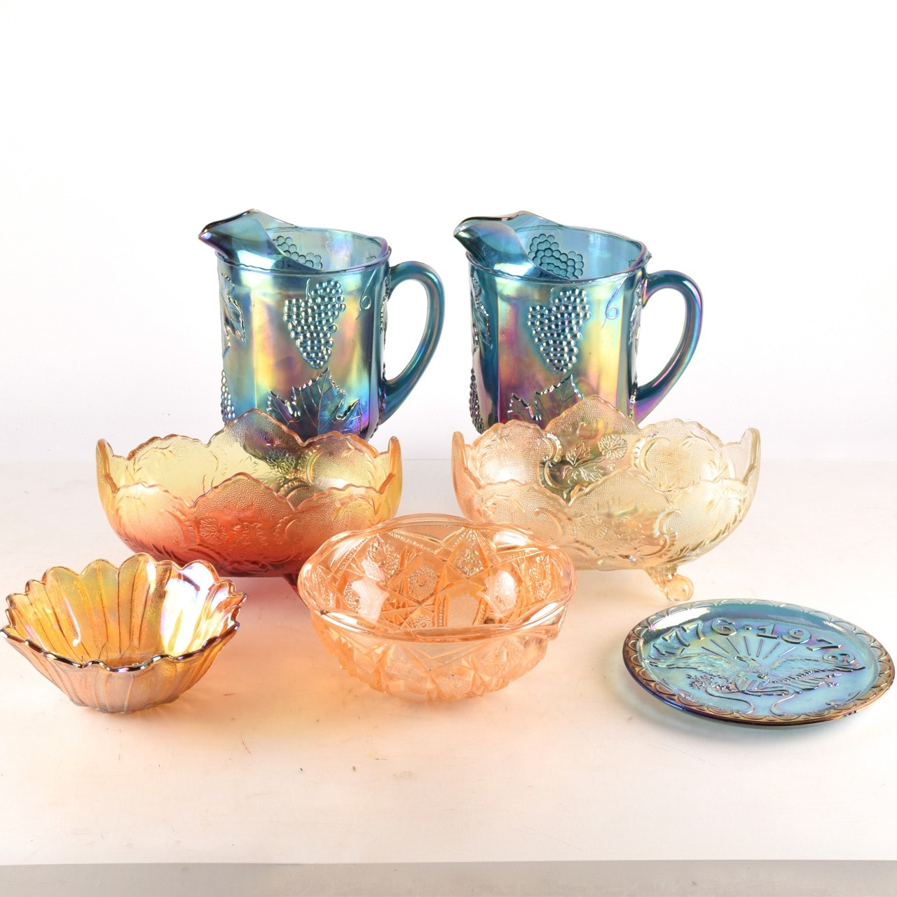 Iridescent and Colorful Pressed Glassware