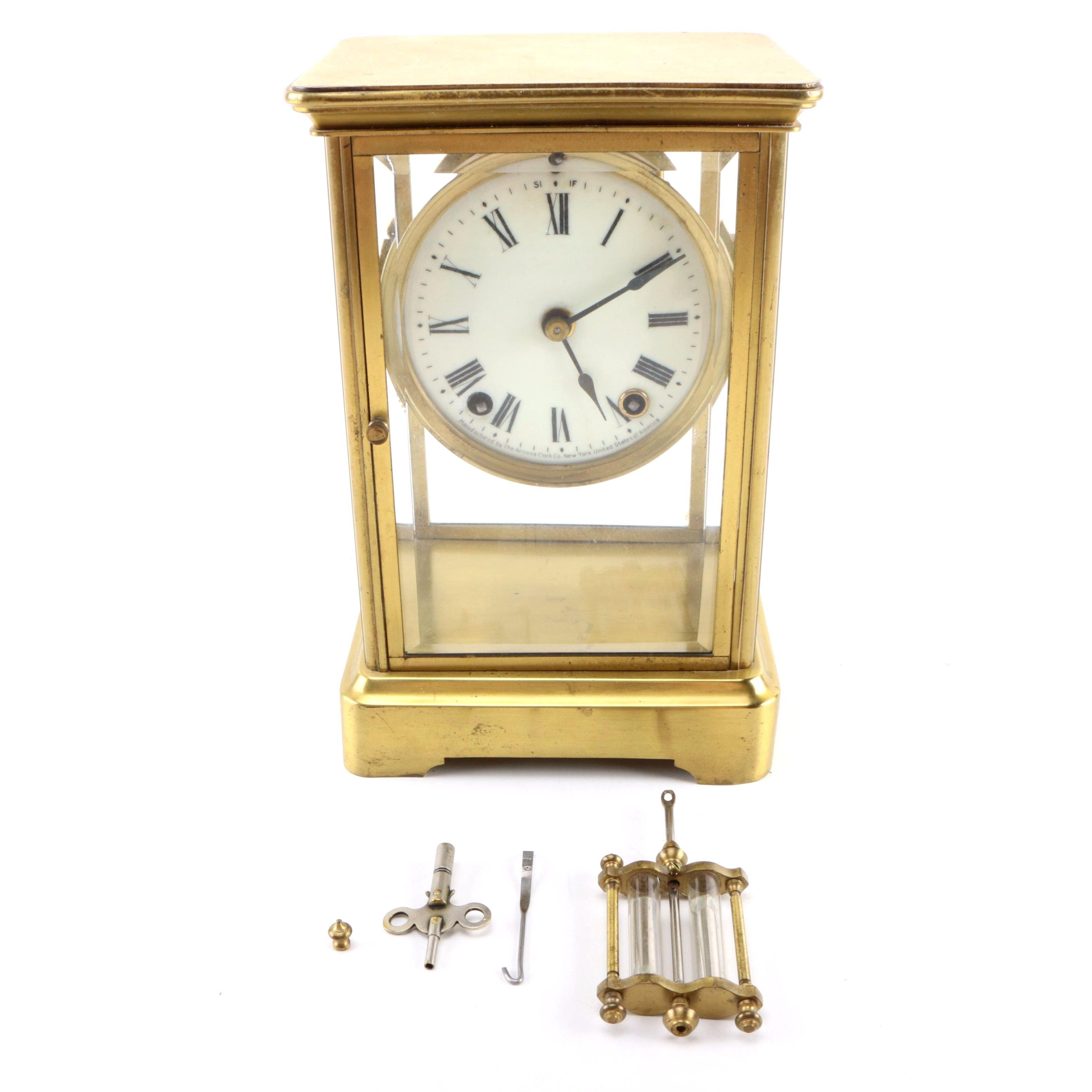 Ansonia Clock Co. Brass Desk Clock.