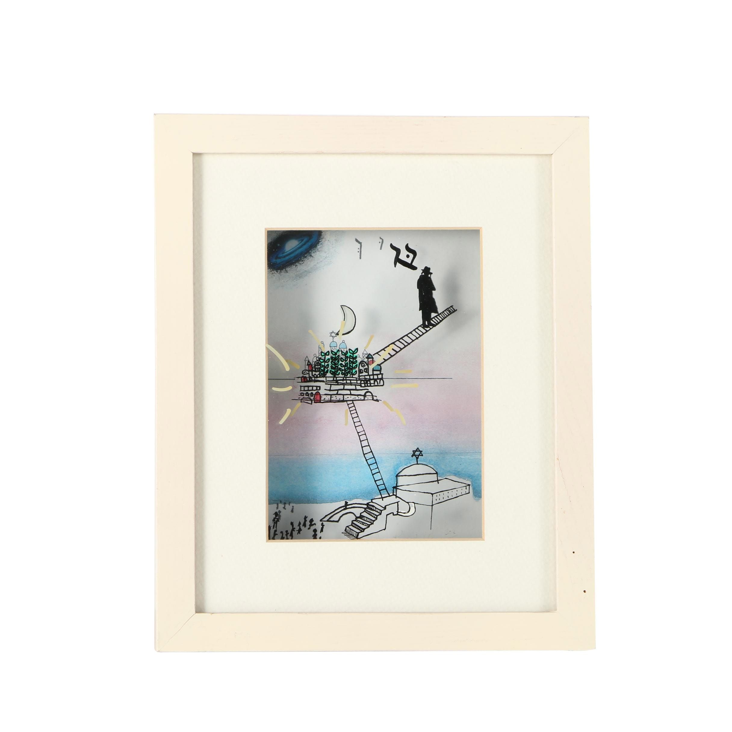 Limited Edition Serigraph Over Offset Lithograph of Figure Climbing Ladder