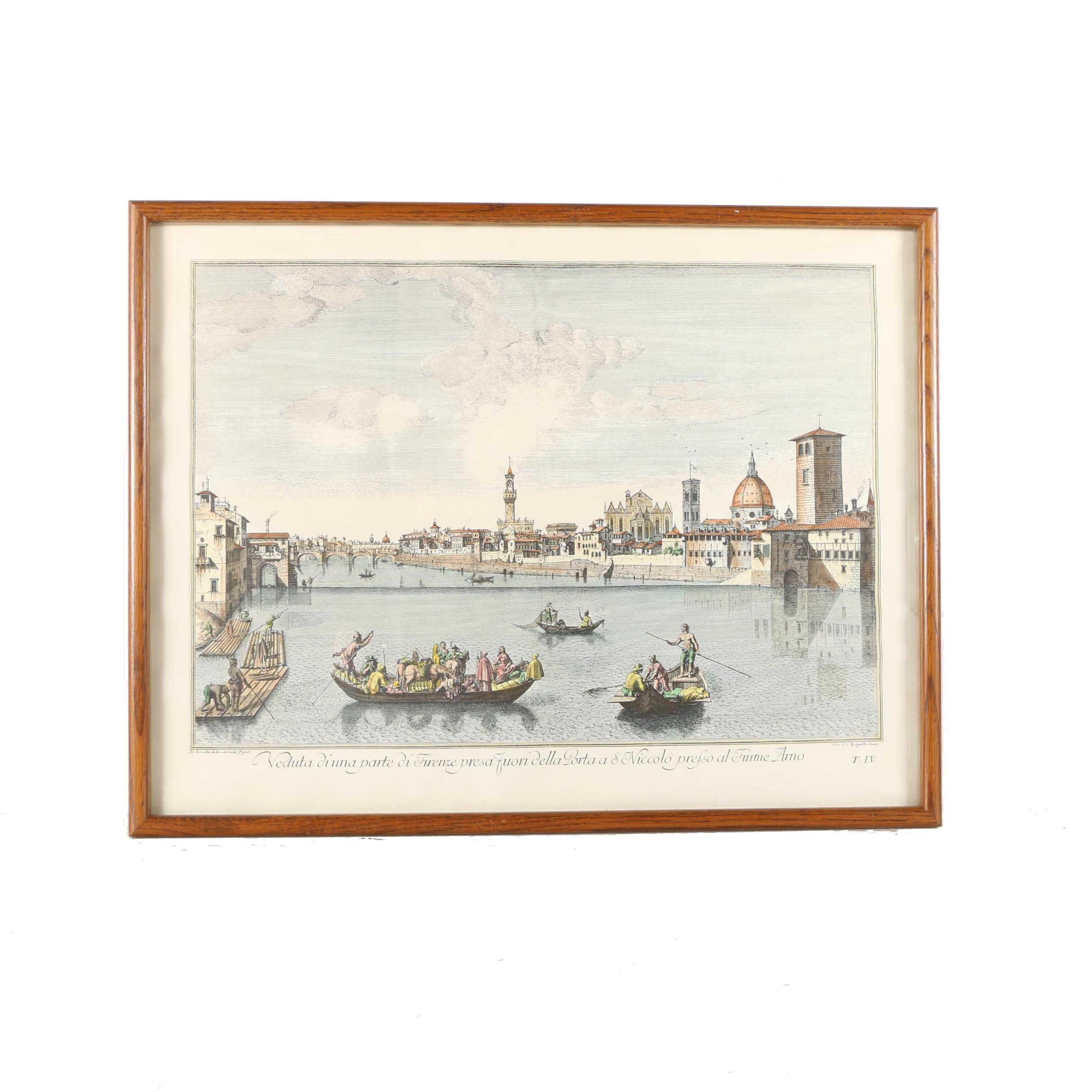 """Hand Colored Restrike Etching on Paper Titled """"Veduta di una parte di Firenze"""""""