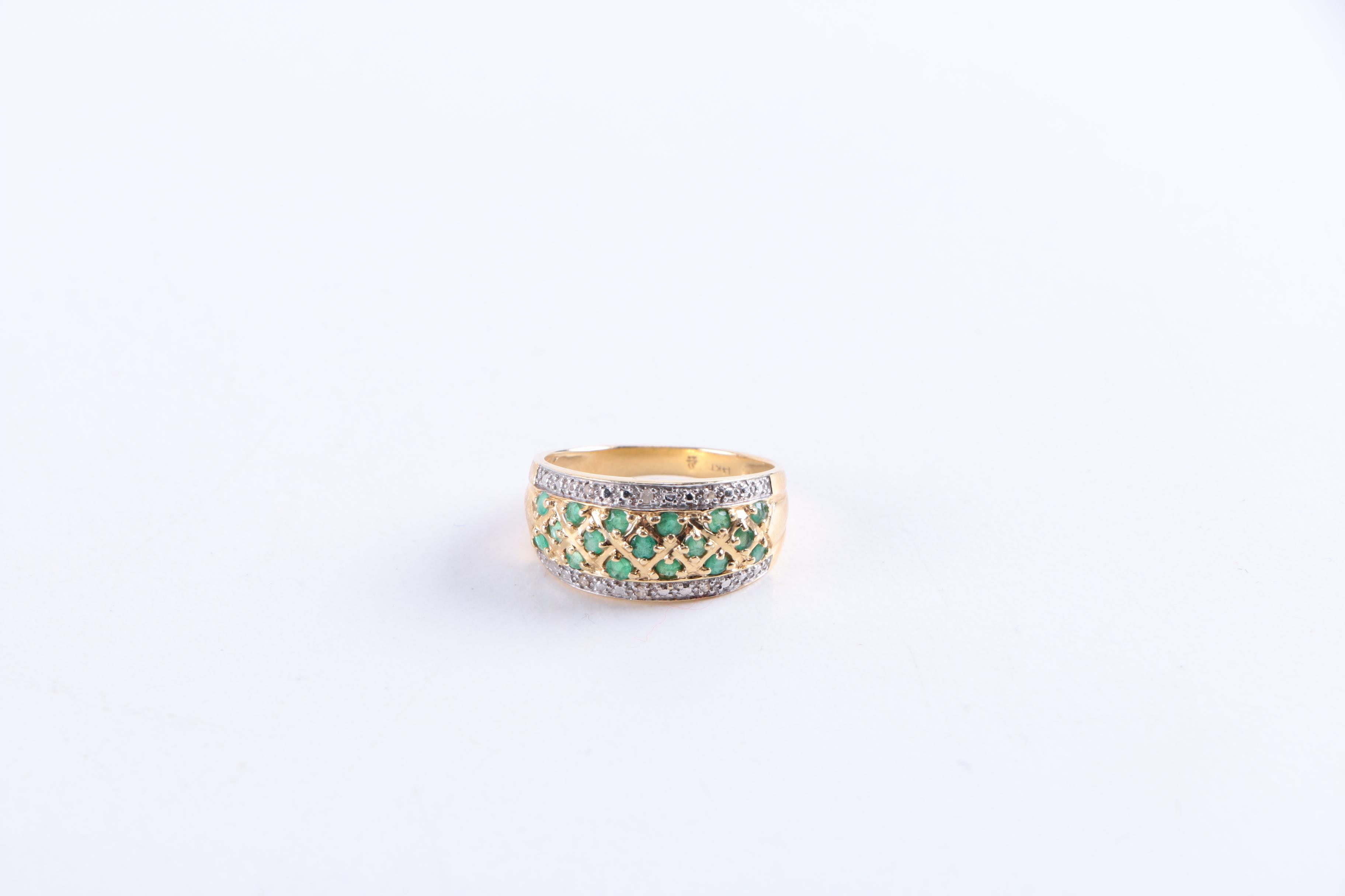 Emerald and Diamond 14K Gold Ring