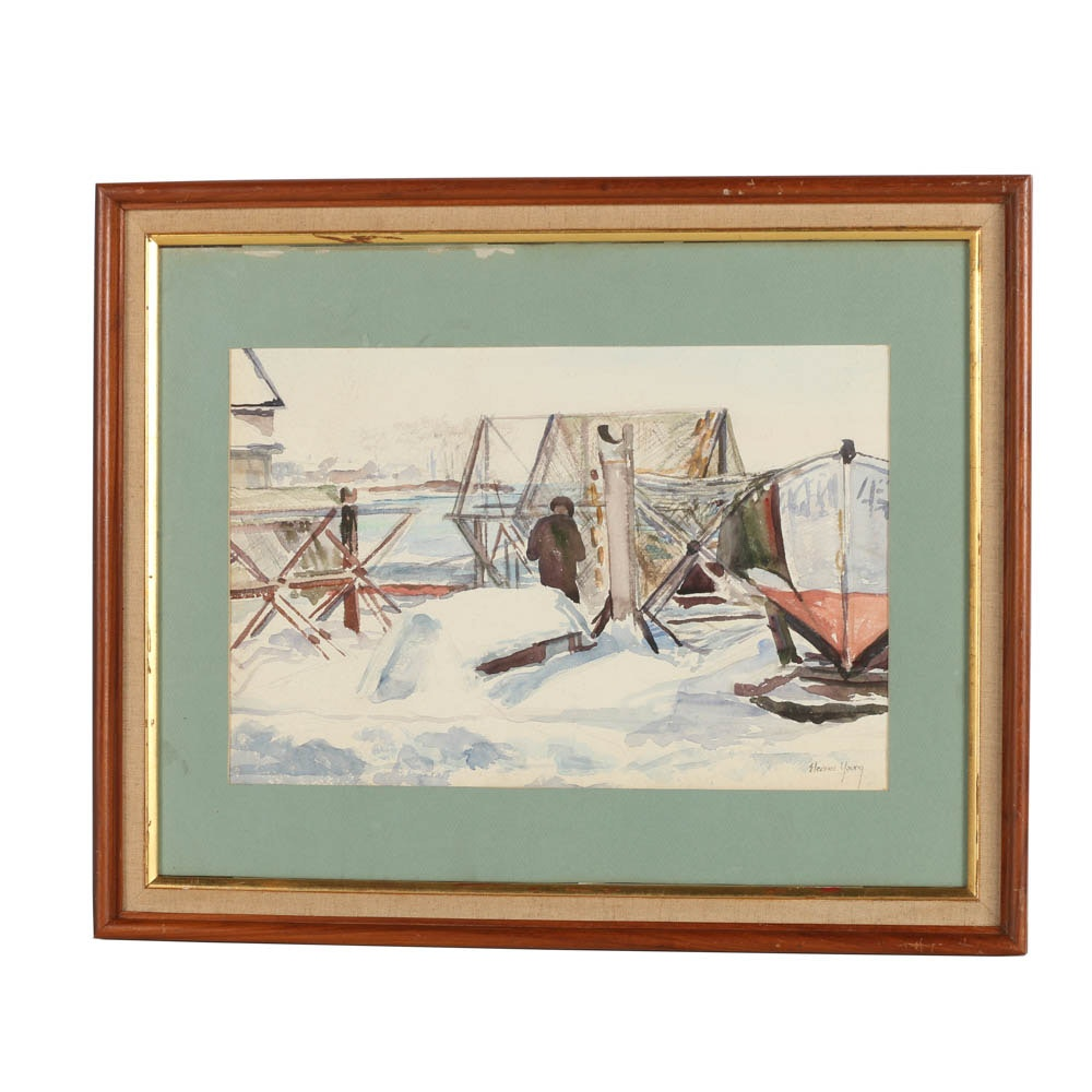 Eleanor Young Watercolor Painting on Paper of Marina Scene