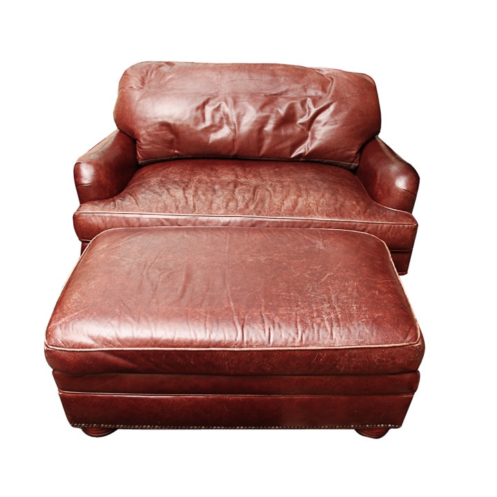 Lovely Overstuffed Leather Chair With Ottoman By Charles Stewart Company ...